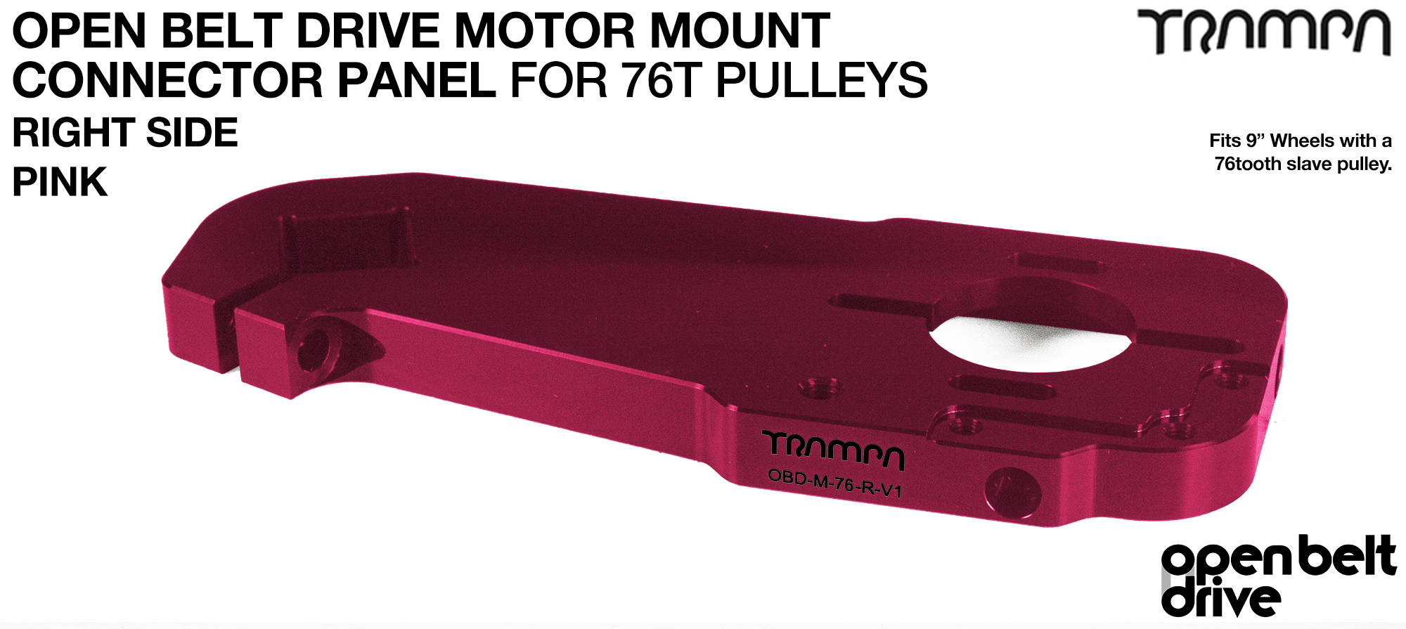 OBD Motor Mount Connector Panel for 76 tooth Pulleys - GOOFY - PINK