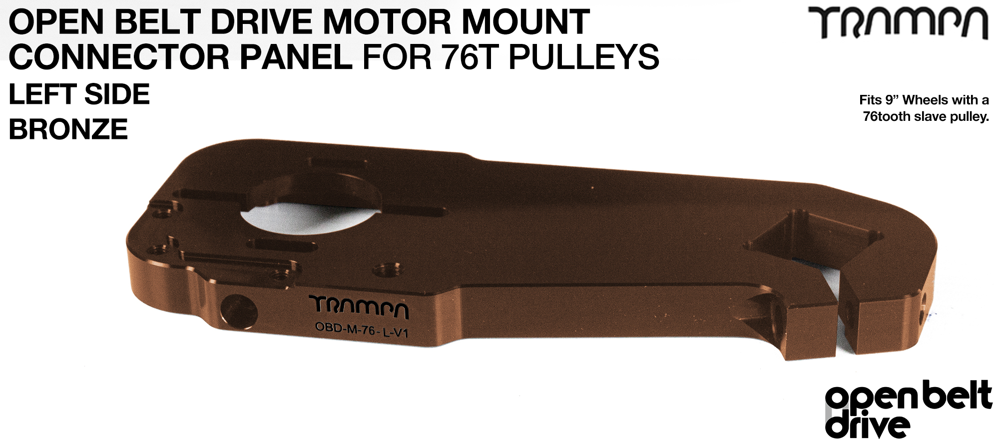 OBD Motor Mount Connector Panel for 76 tooth pulleys - REGULAR - BRONZE