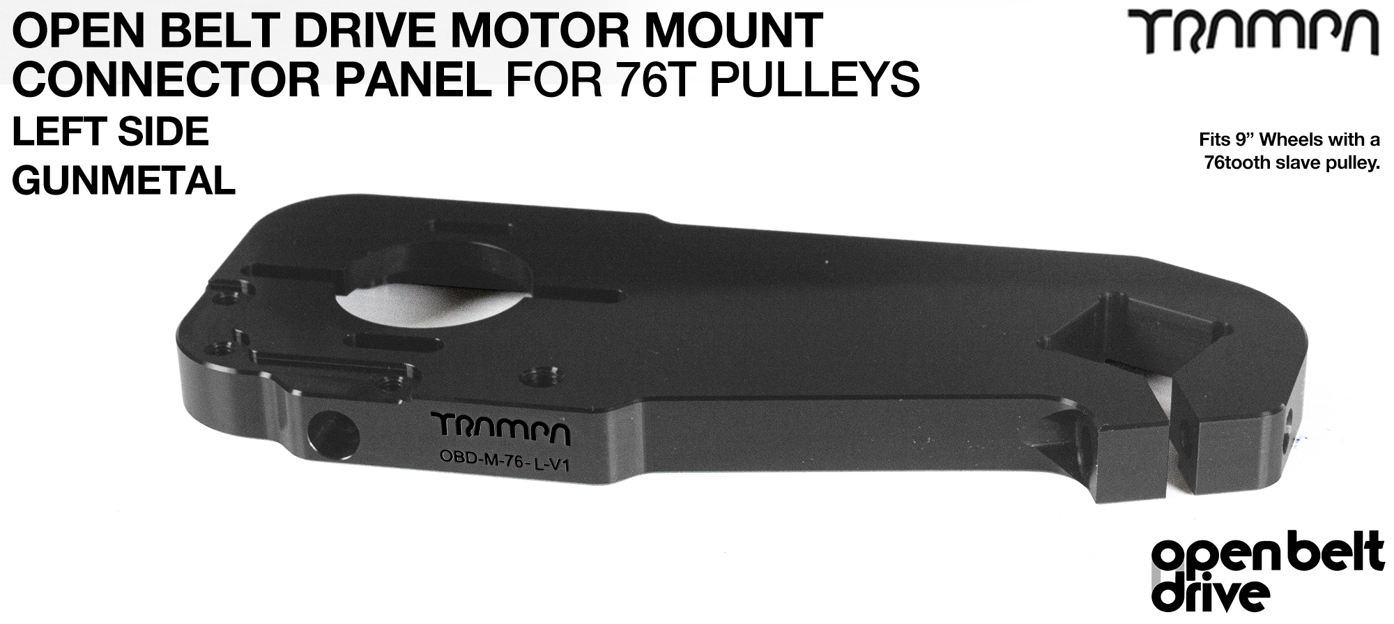 OBD Motor Mount Connector Panel for 76 tooth pulleys - REGULAR - GUNMETAL