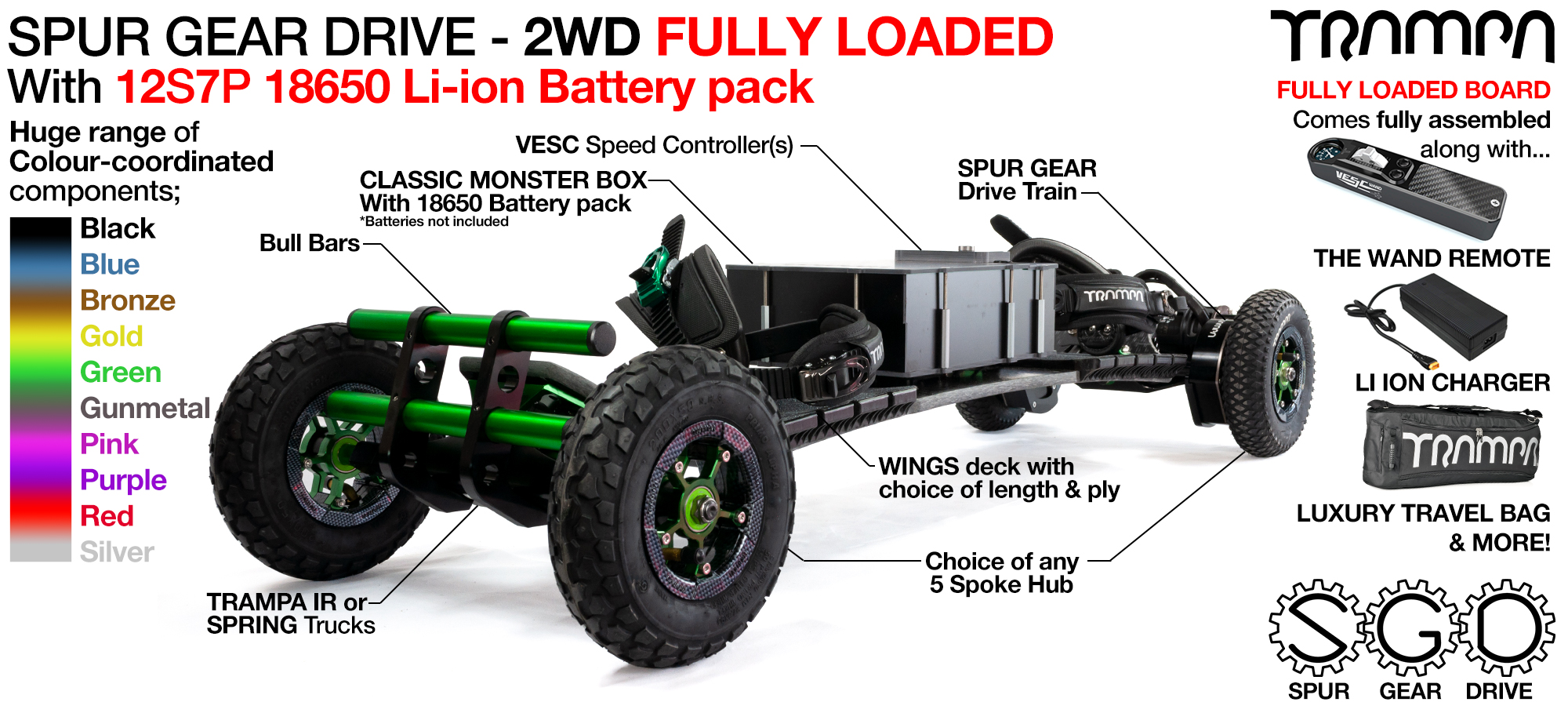 2WD SPUR GEAR DRIVE Electric Mountainboard - FULLY LOADED 18650 Cell Pack supplied with The WAND, a 12A Charger & Bull Bars as standard!!