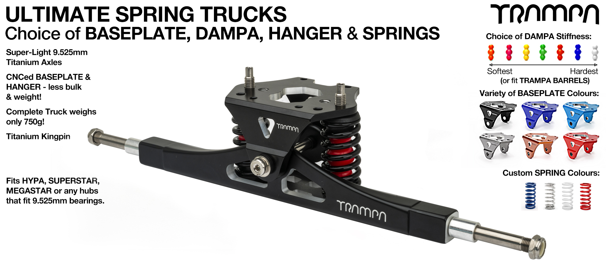 Precision CNC ULTIMATE ATB TRUCK with CNC Motor Mount fixing points & TRAMPA Baseplate, TITANIUM Axles & Kingpin