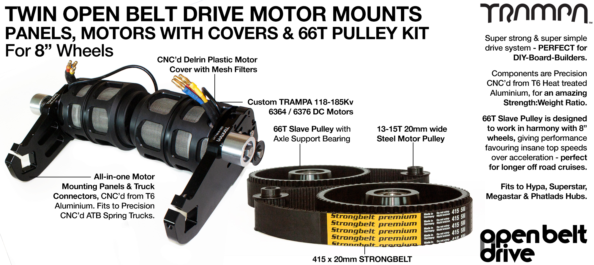 66T OBD Motor Mount with 66 tooth Pulley for 8 inch Wheels Custom TRAMPA Motor & Motor Protection Filter - TWIN