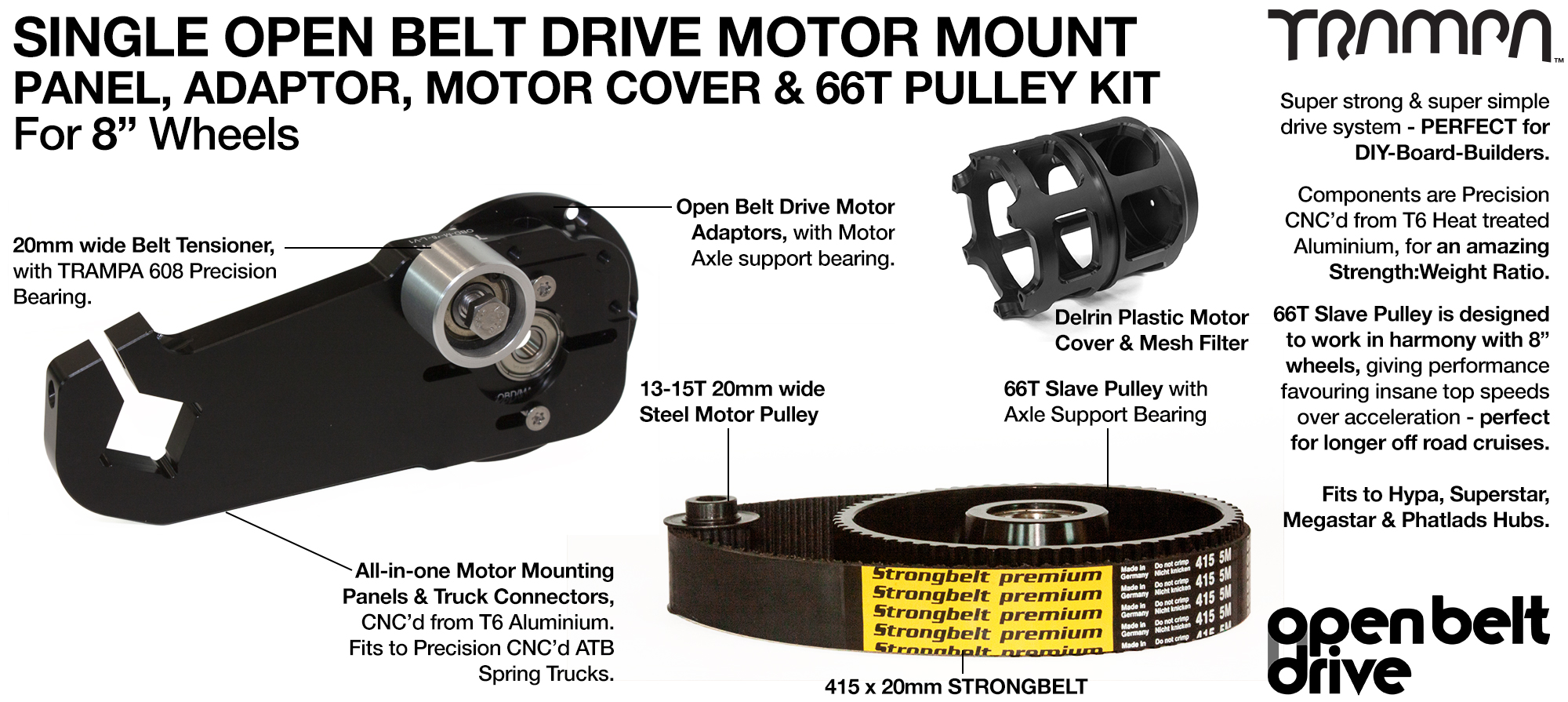 66T Open Belt Drive OBD Motor Mount with 66 tooth Pulley Kit for 8 inch Wheels & Motor Protection - SINGLE