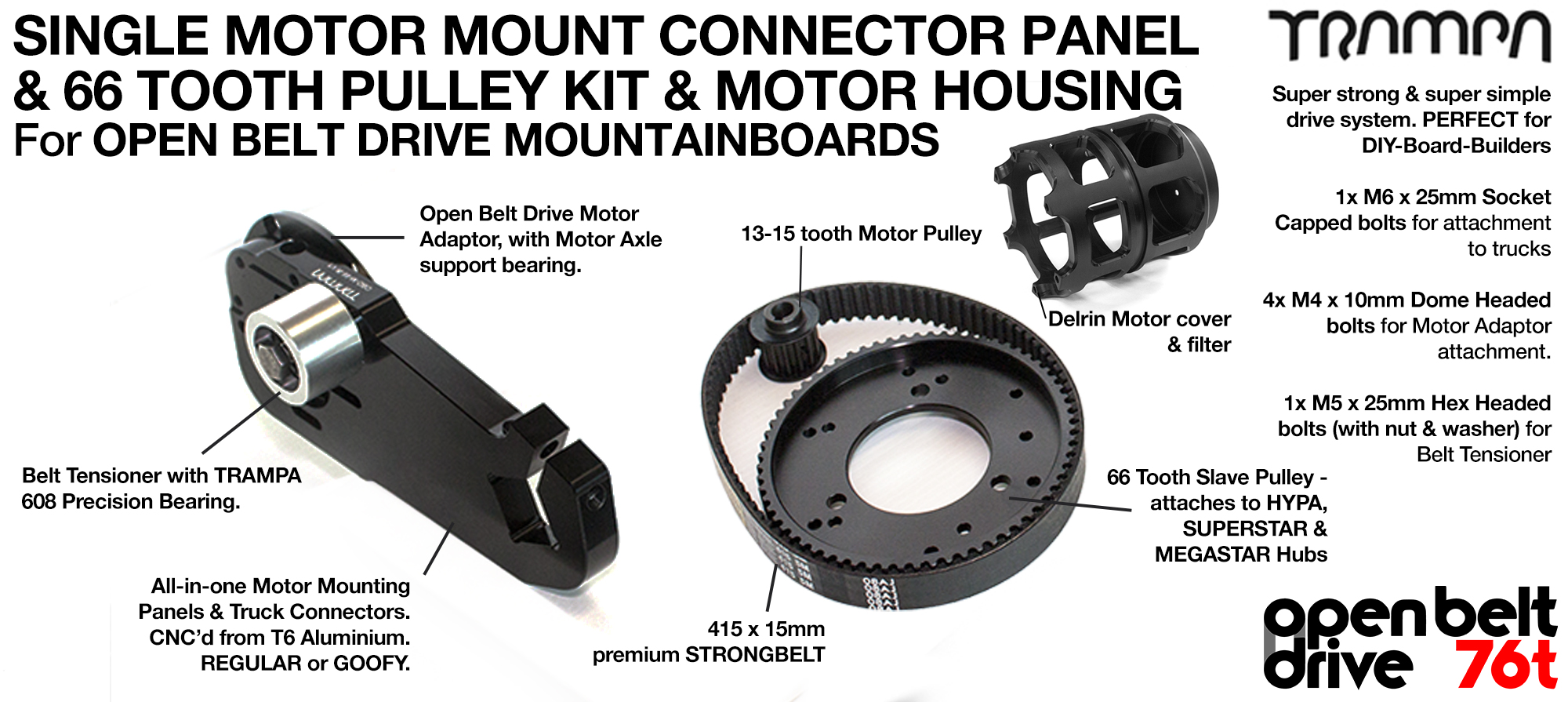 76T OBD Motor Mount with 76 tooth Pulley Kit & Motor Protection - SINGLE