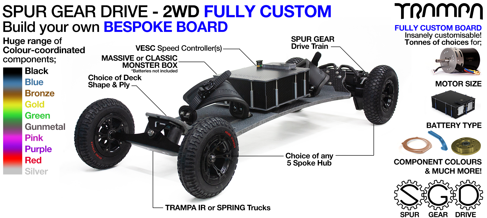 2WD SPUR GEAR DRIVE Electric Mountainboard - CUSTOM