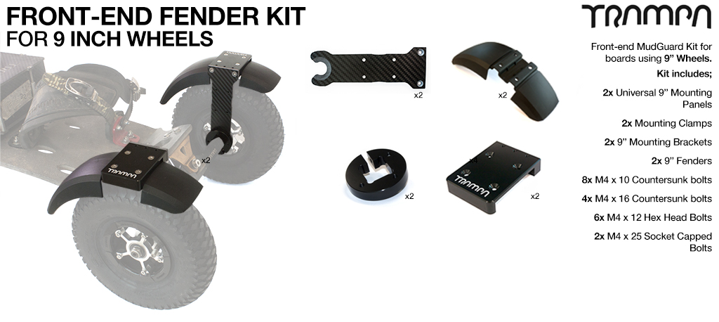 FRONT Fender Kit for 9 Inch Wheel boards