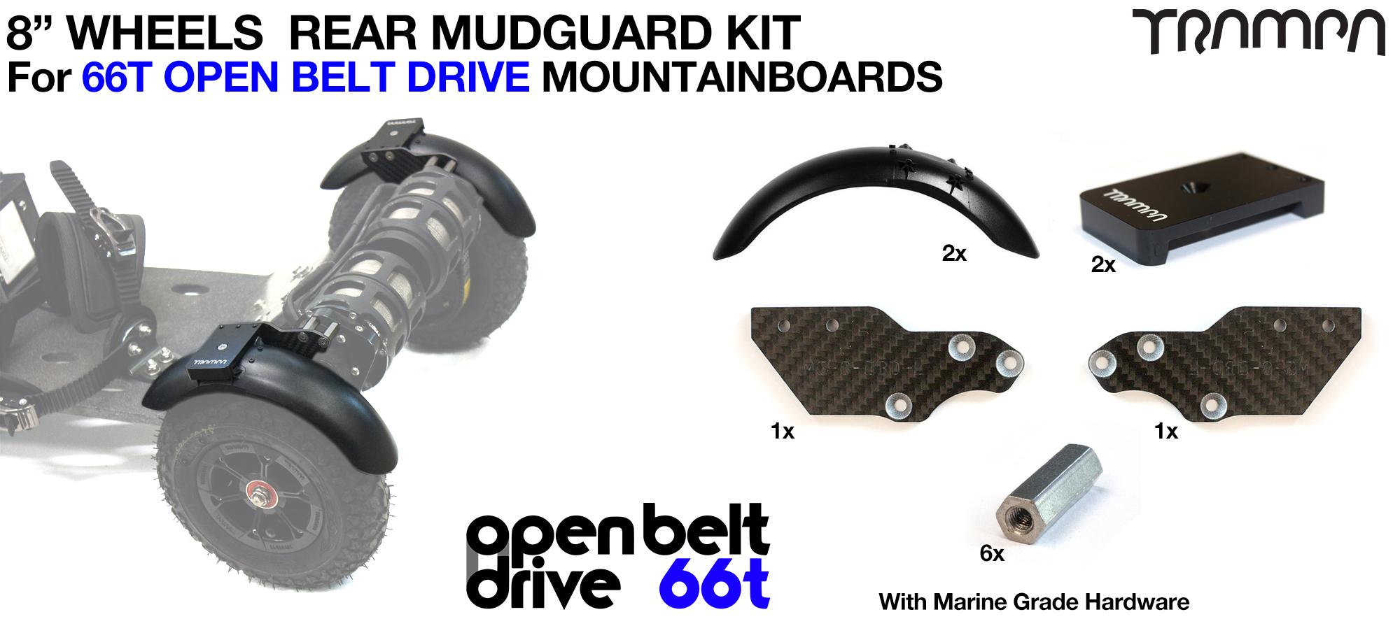 REAR Fender Kit for 8 Inch Wheel boards - OPEN BELT DRIVE 66T