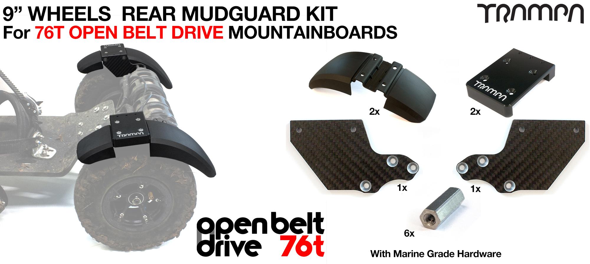 REAR Fender Kit for 9 Inch Wheel boards - OPEN BELT DRIVE 76T