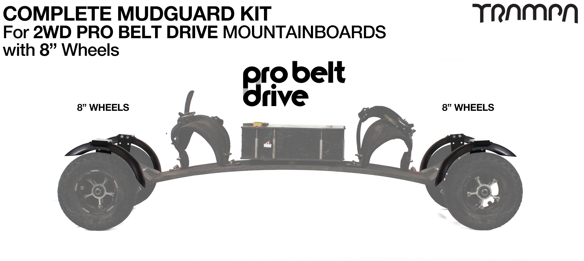 "Full Mudguard Kit for 2WD PRO BELT DRIVE Mountainboards - 8"" Wheels All round"