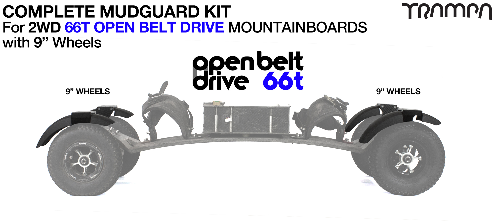 """Full Mudguard Kit for 2WD 66T OPEN BELT DRIVE Mountainboards - 9"""" Wheels All round"""
