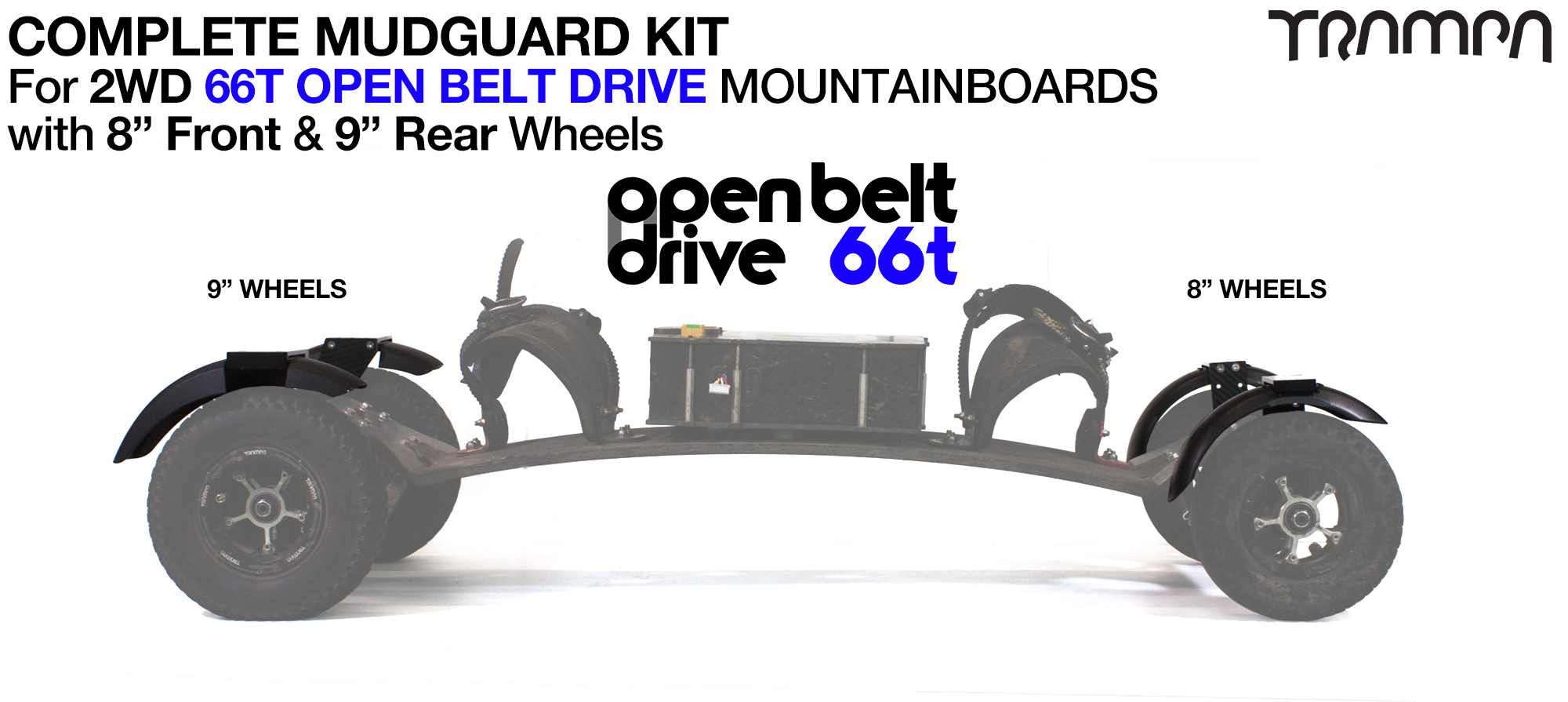 "Full Mudguard Kit for 2WD 66T OPEN BELT DRIVE Mountainboards - 8"" & 9"" Wheels"
