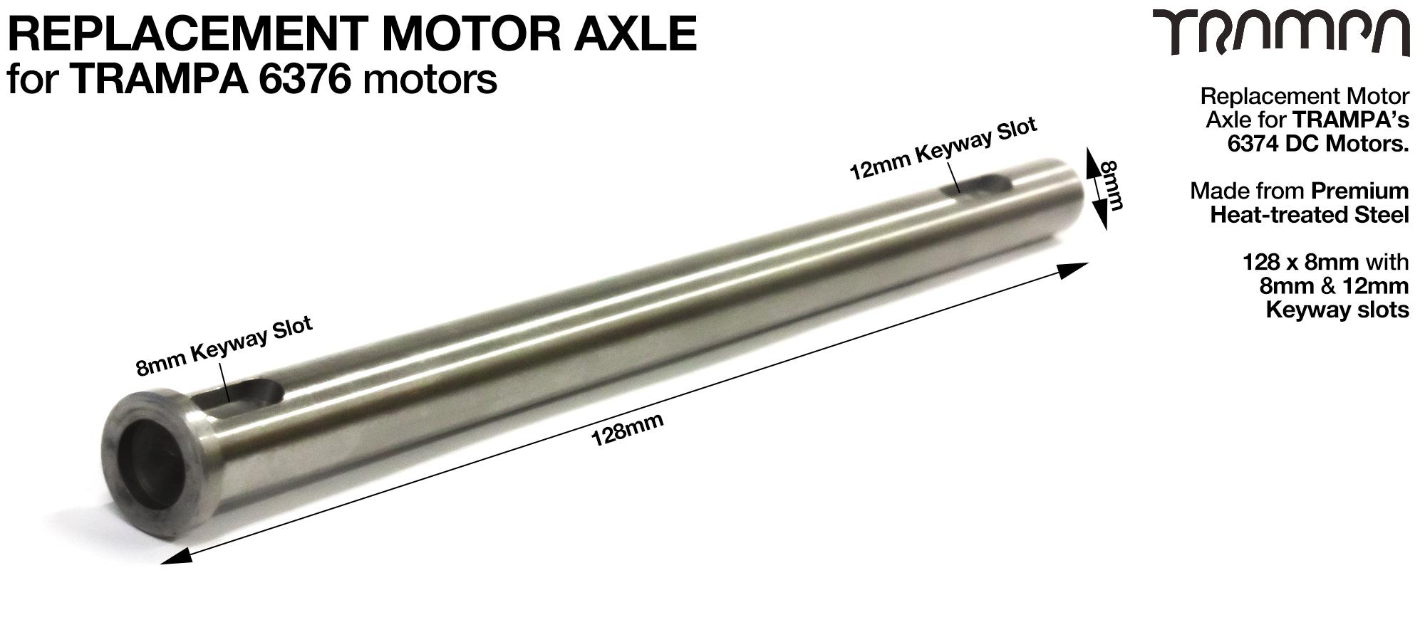 Stainless Steel Motor Axle 128 x 8mm - for TRAMPA's 6376 DC Motors