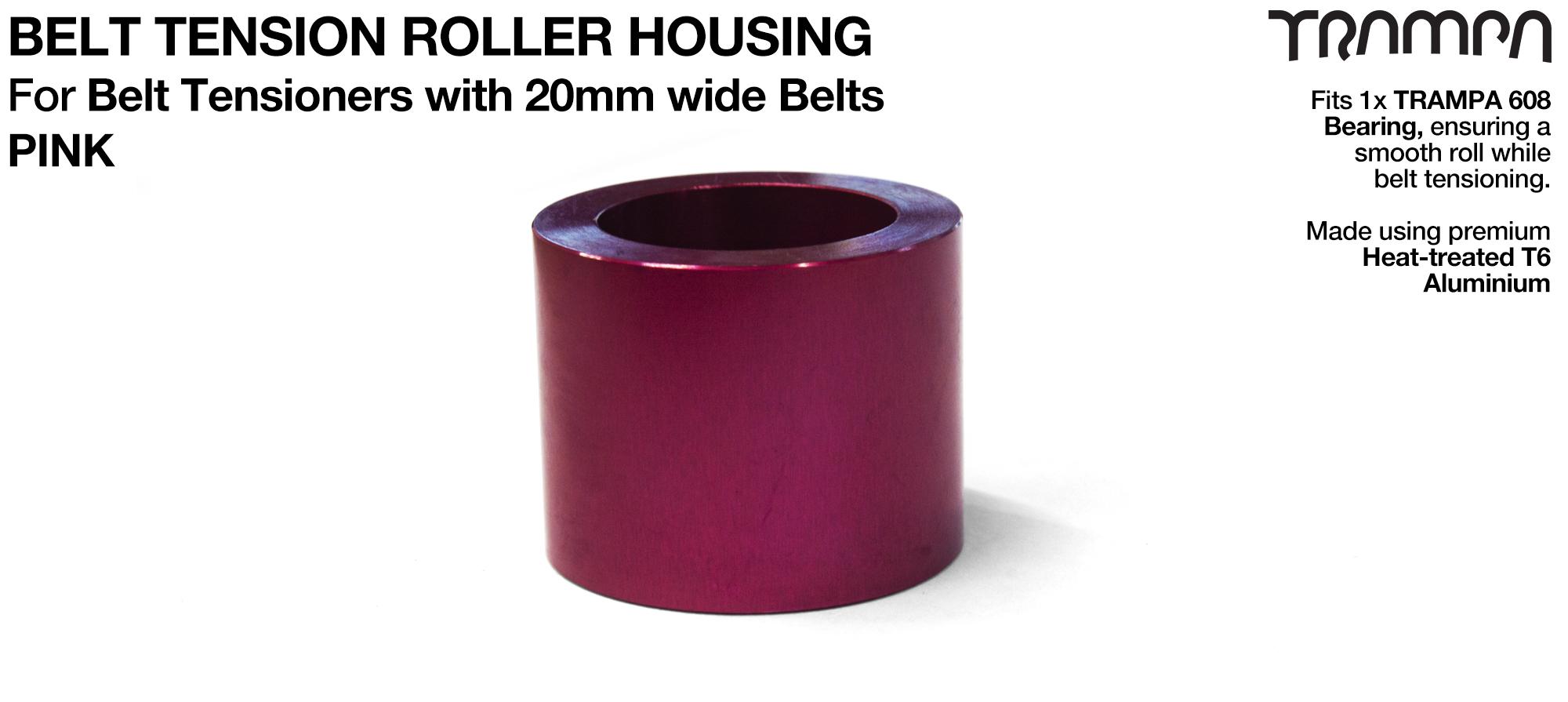Belt Tension Roller Housing for 20mm Belts - PINK