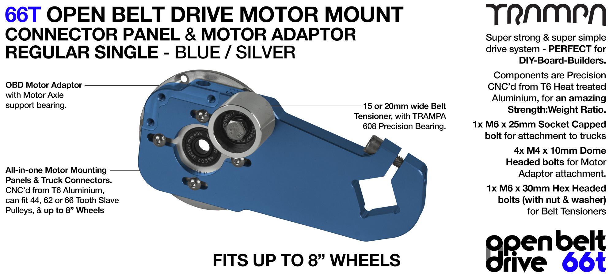 66T OPEN BELT DRIVE Motor Mount & Motor Adaptor - SINGLE BLUE