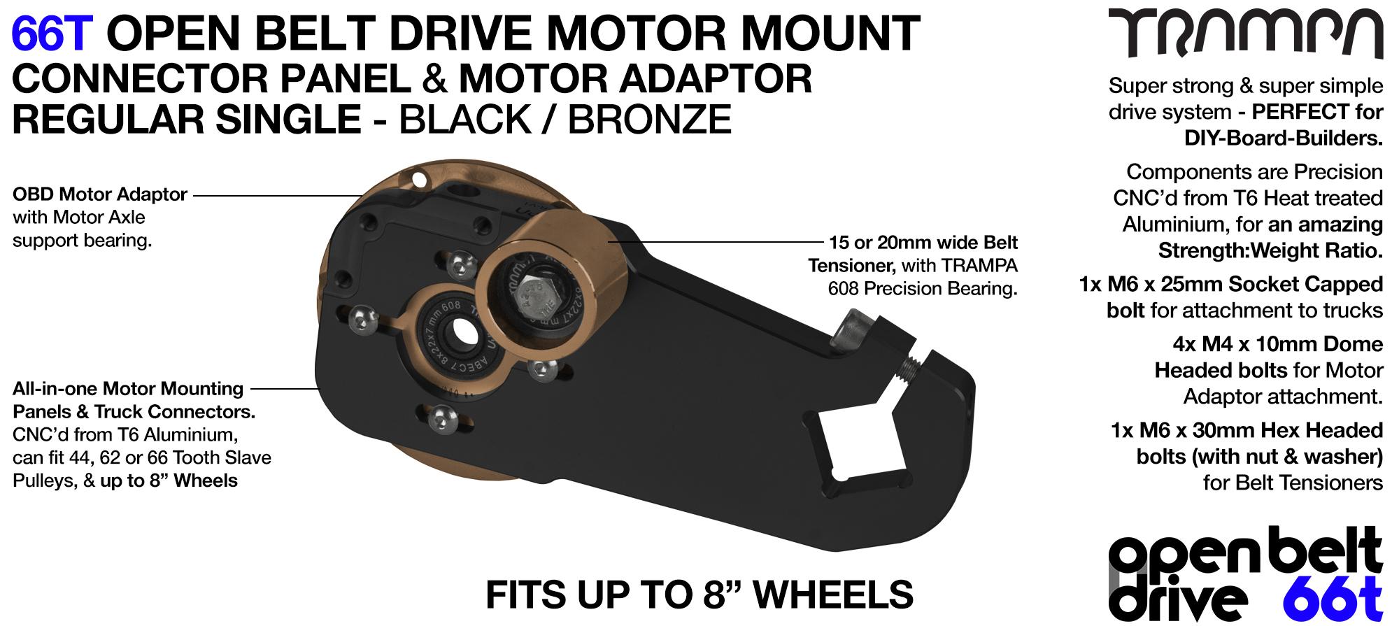 66T OPEN BELT DRIVE Motor Mount & Motor Adaptor - SINGLE BRONZE