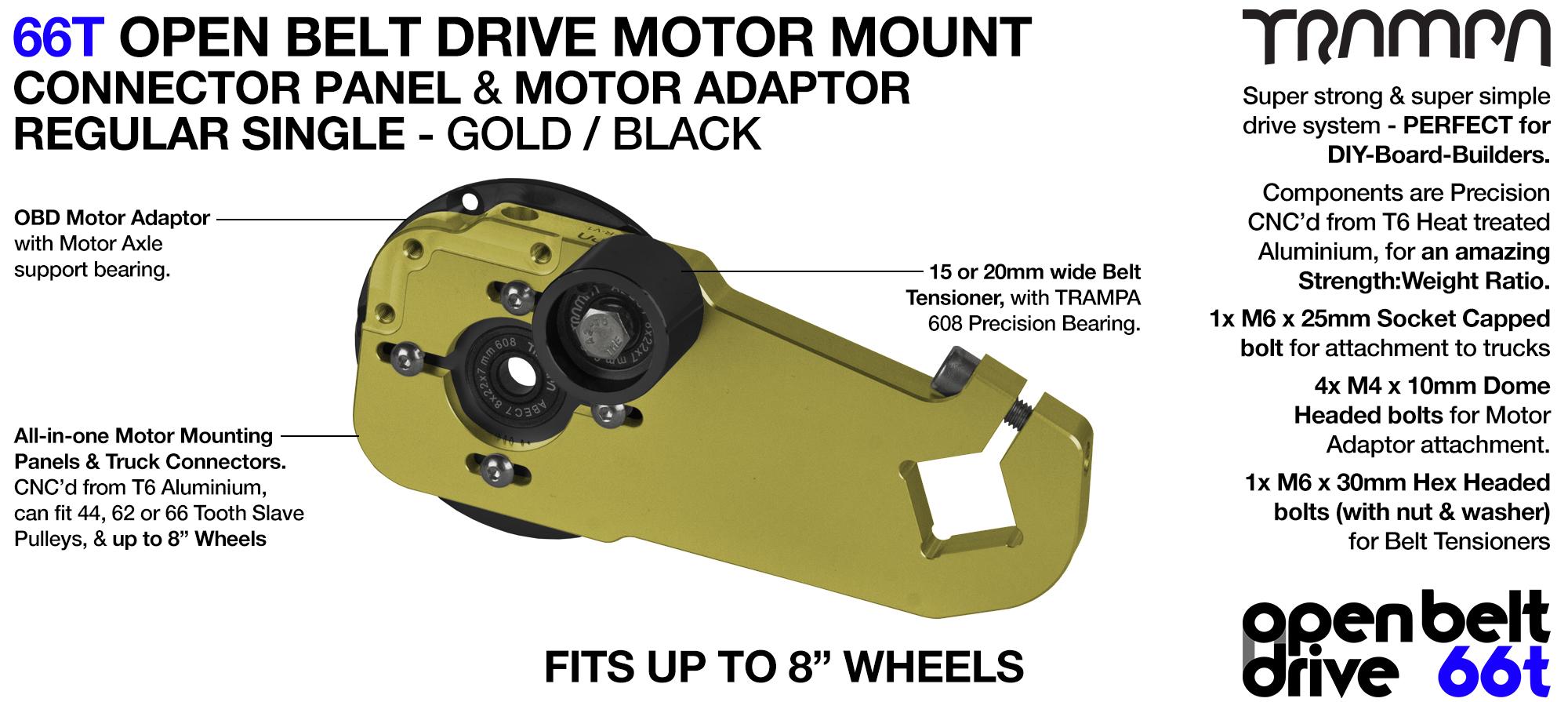 66T OPEN BELT DRIVE Motor Mount & Motor Adaptor - SINGLE GOLD