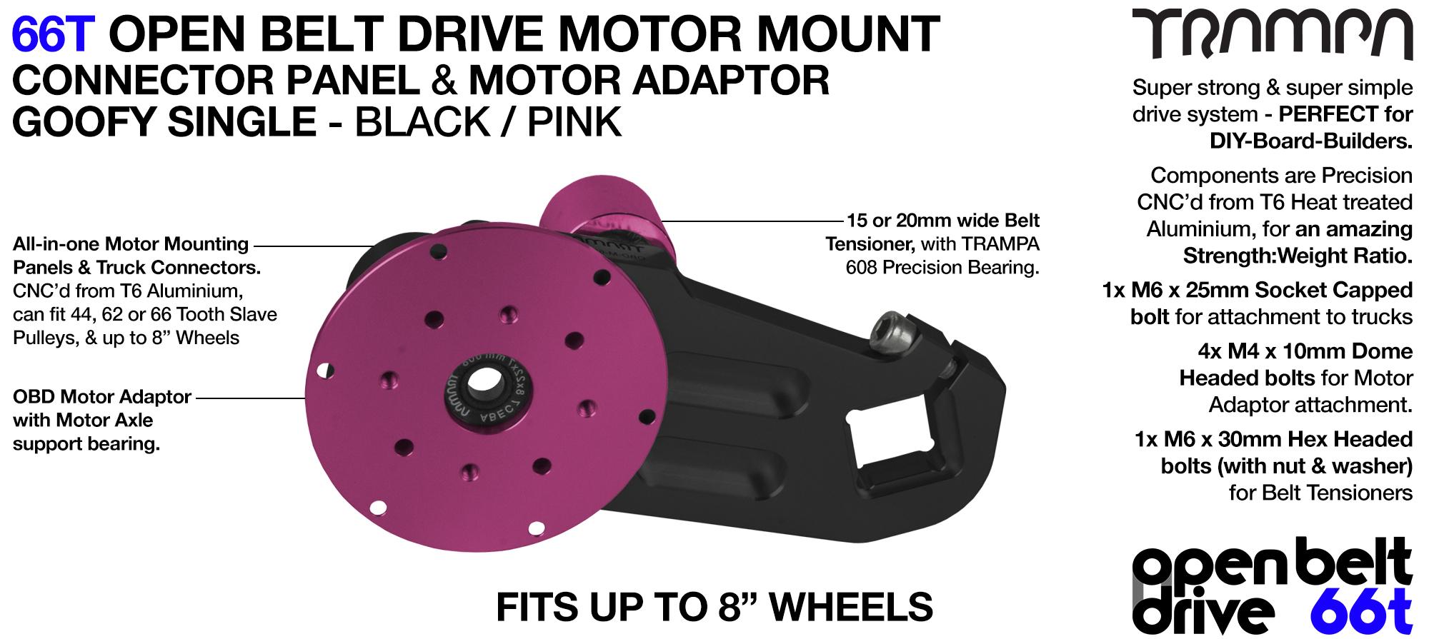 66T OPEN BELT DRIVE Motor Mount & Motor Adaptor - SINGLE PINK