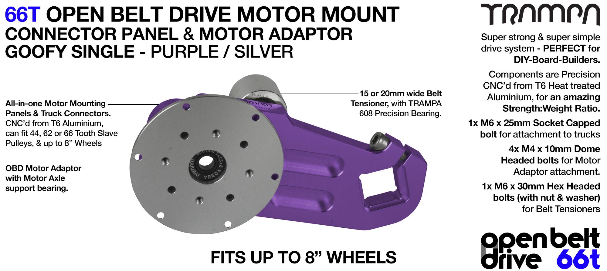 66T OPEN BELT DRIVE Motor Mount & Motor Adaptor - SINGLE PURPLE