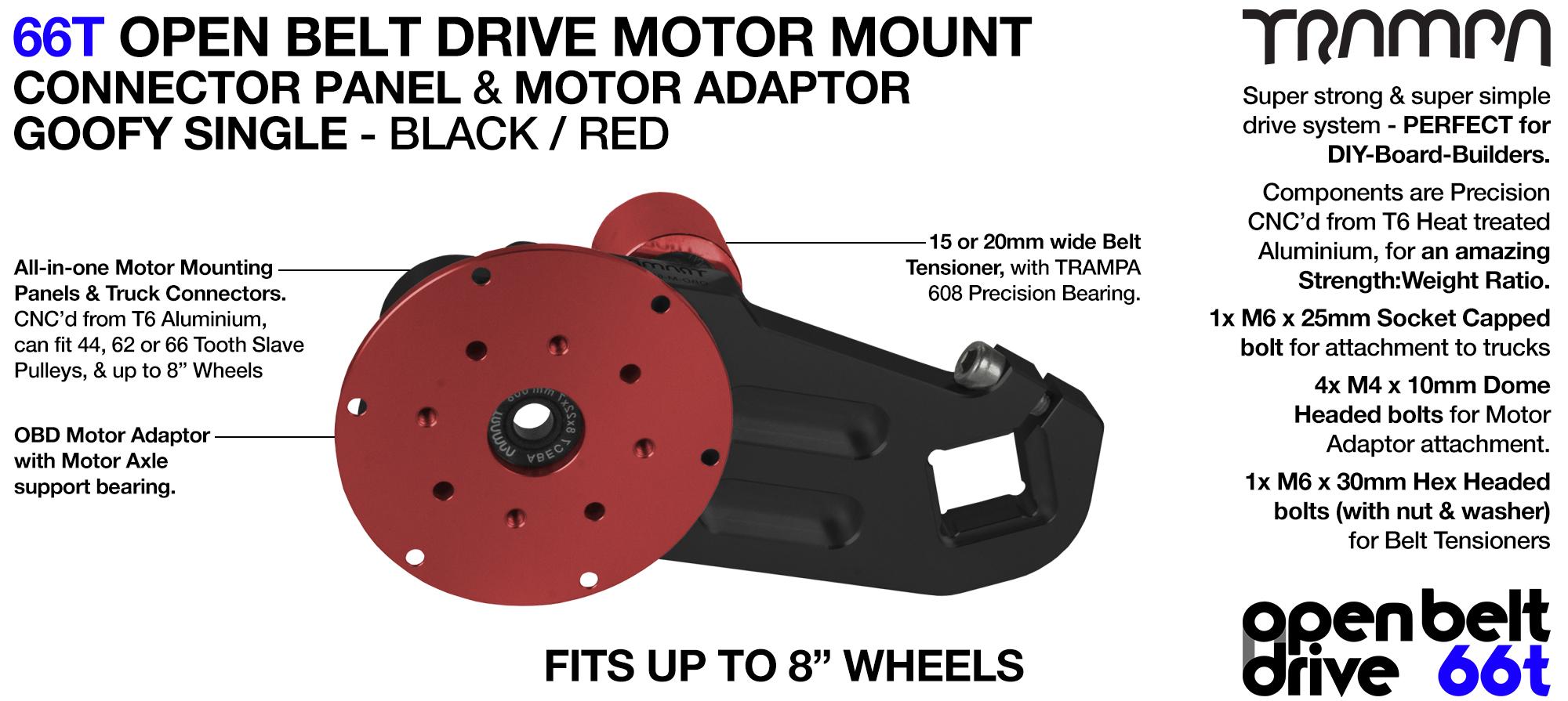 66T OPEN BELT DRIVE Motor Mount & Motor Adaptor - SINGLE RED