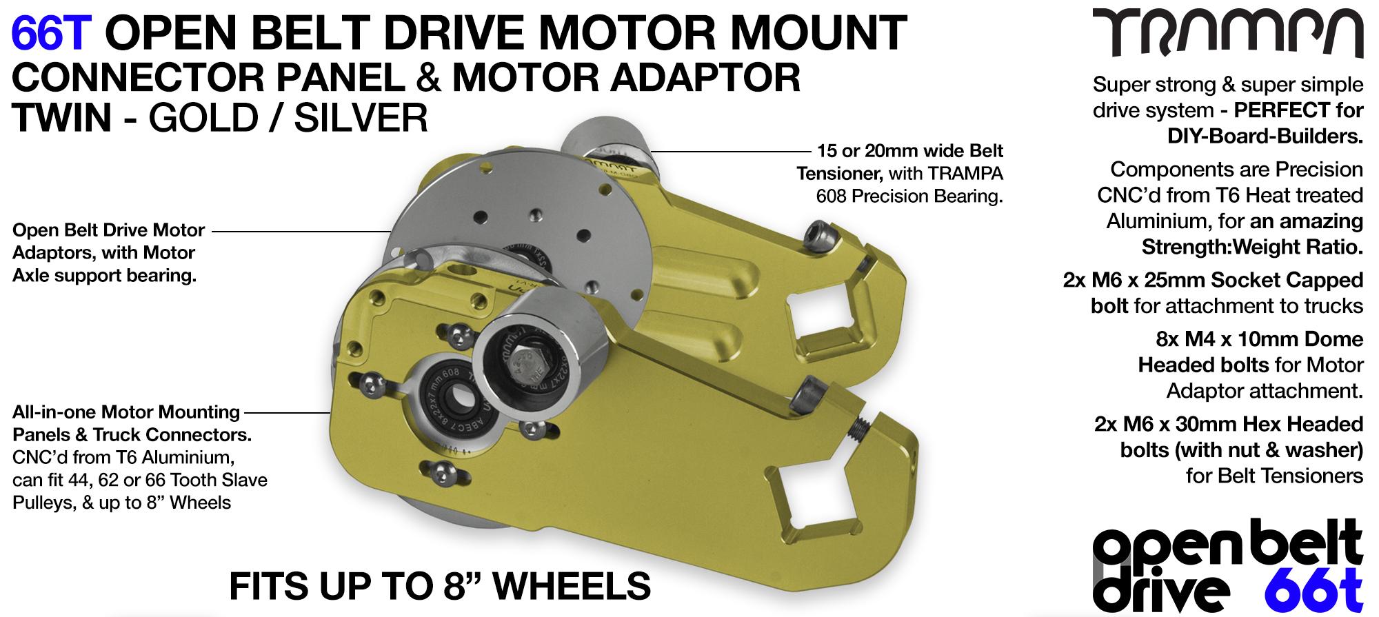 66T OPEN BELT DRIVE Motor Mount & Motor Adaptor - TWIN GOLD