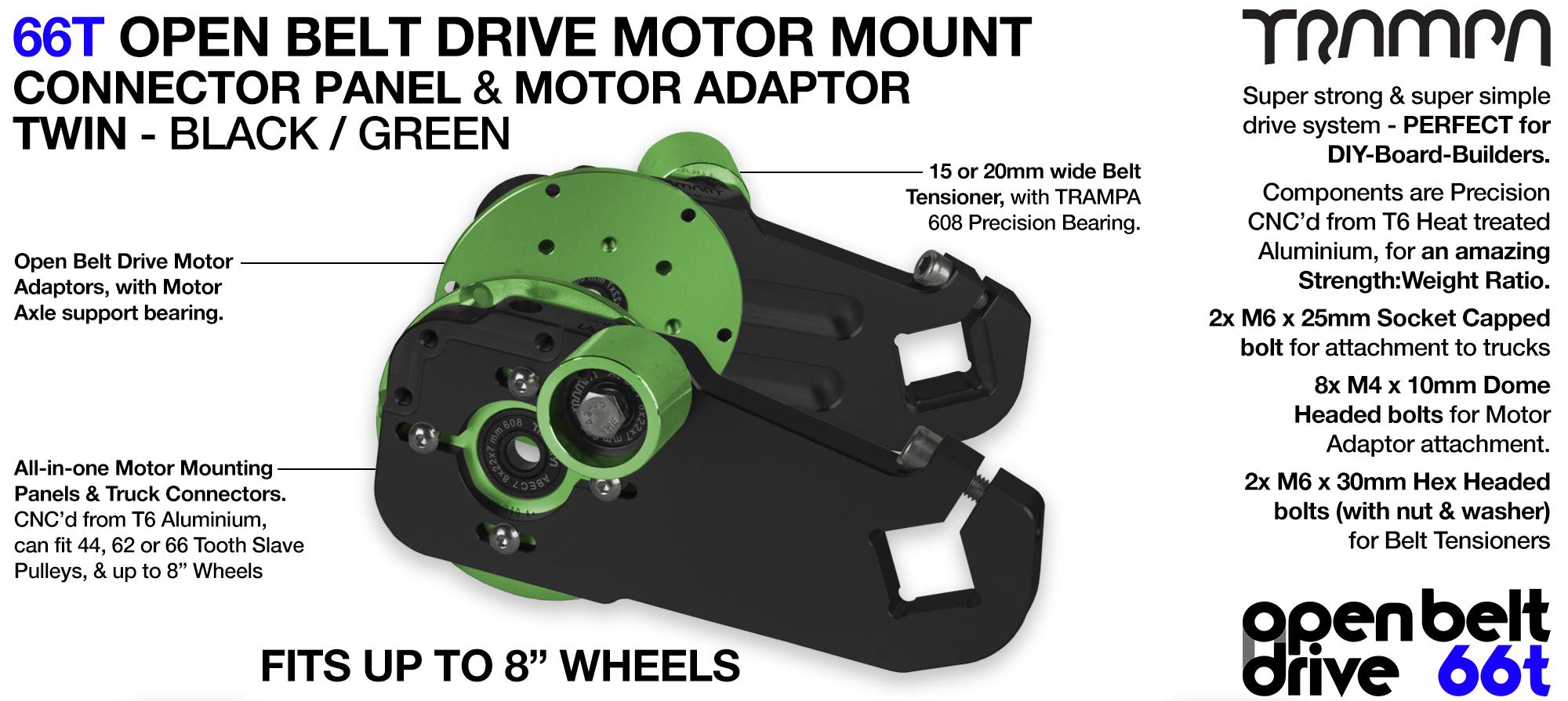 66T OPEN BELT DRIVE Motor Mount & Motor Adaptor - TWIN GREEN