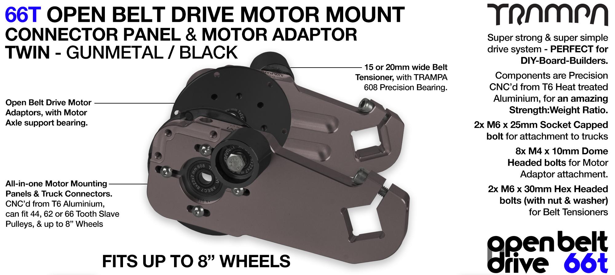 66T OPEN BELT DRIVE Motor Mount & Motor Adaptor - TWIN GUNMETAL