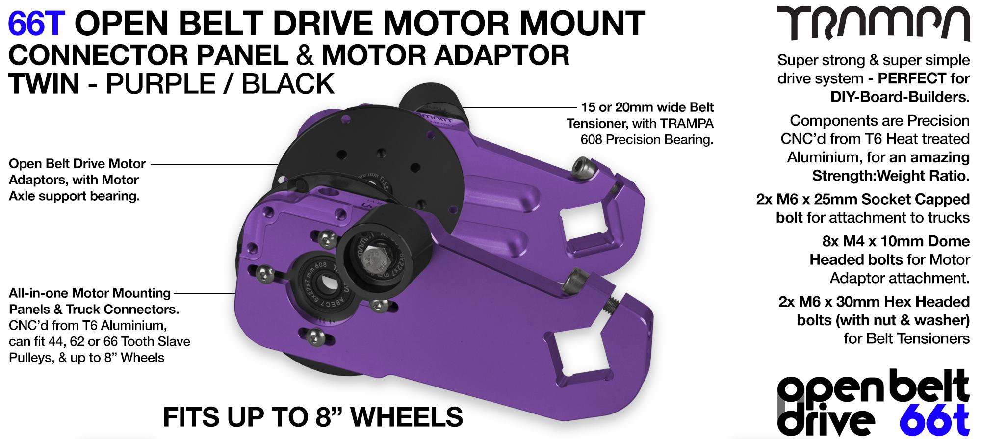 66T OPEN BELT DRIVE Motor Mount & Motor Adaptor - TWIN PURPLE