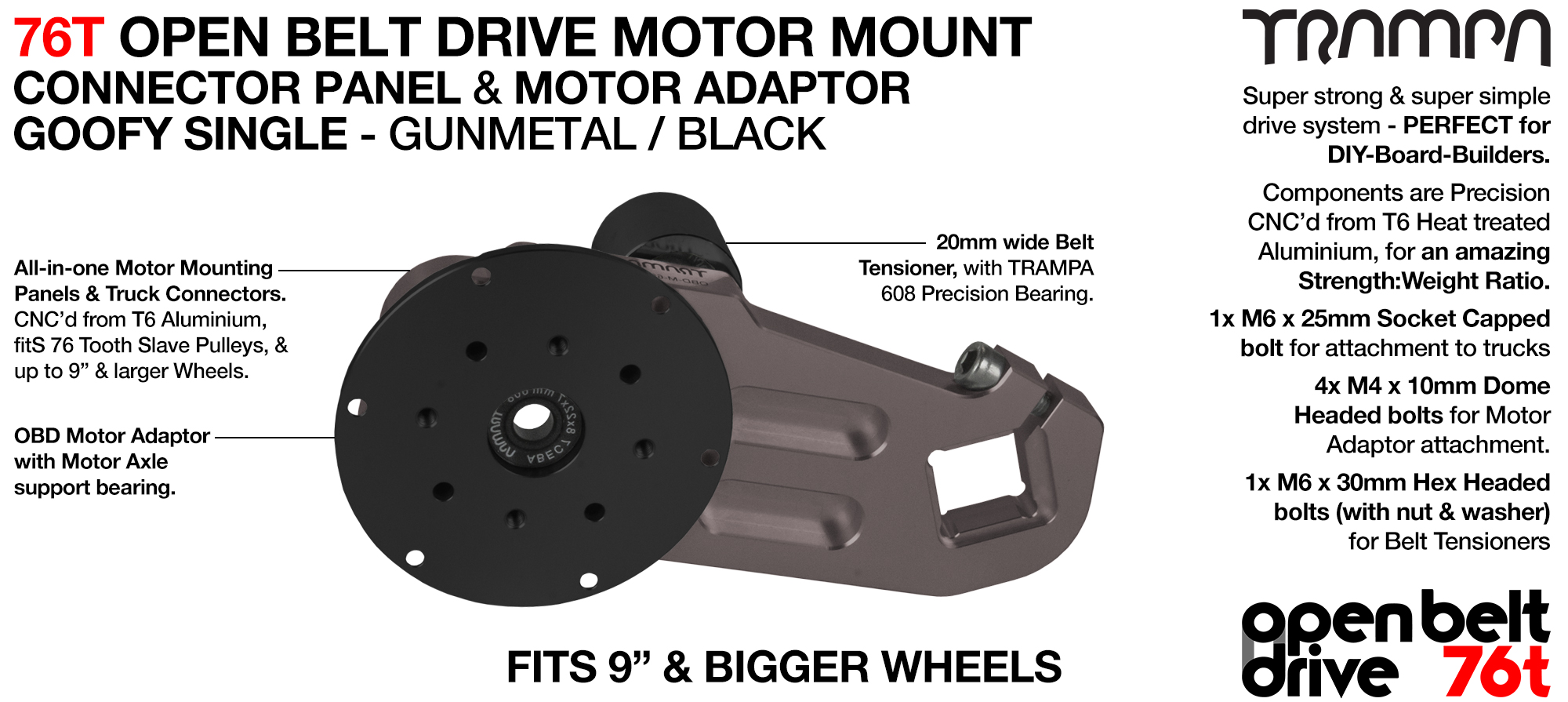 76T Open Belt Drive Motor Mount & Motor Adaptor - SINGLE GUNMETAL