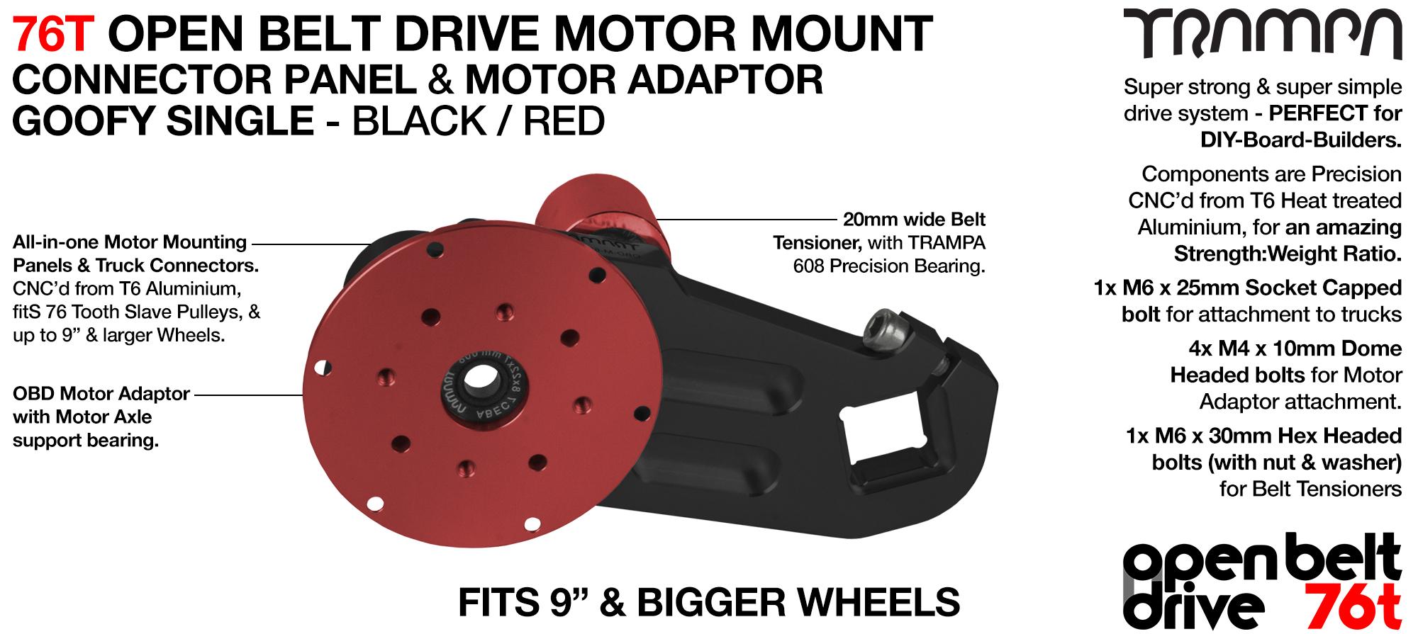 76T Open Belt Drive Motor Mount & Motor Adaptor - SINGLE RED