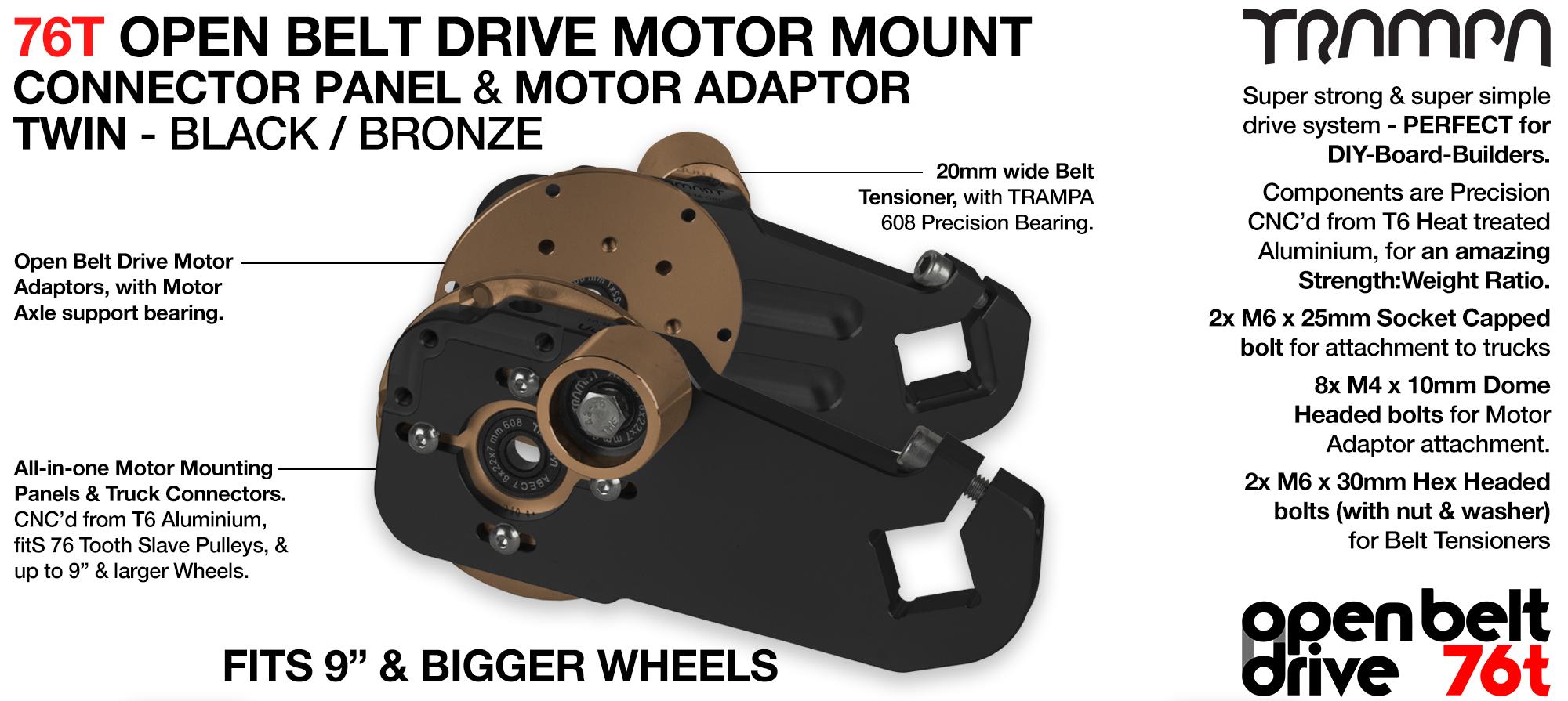 76T Open Belt Drive Motor Mount & Motor Adaptor - TWIN BRONZE