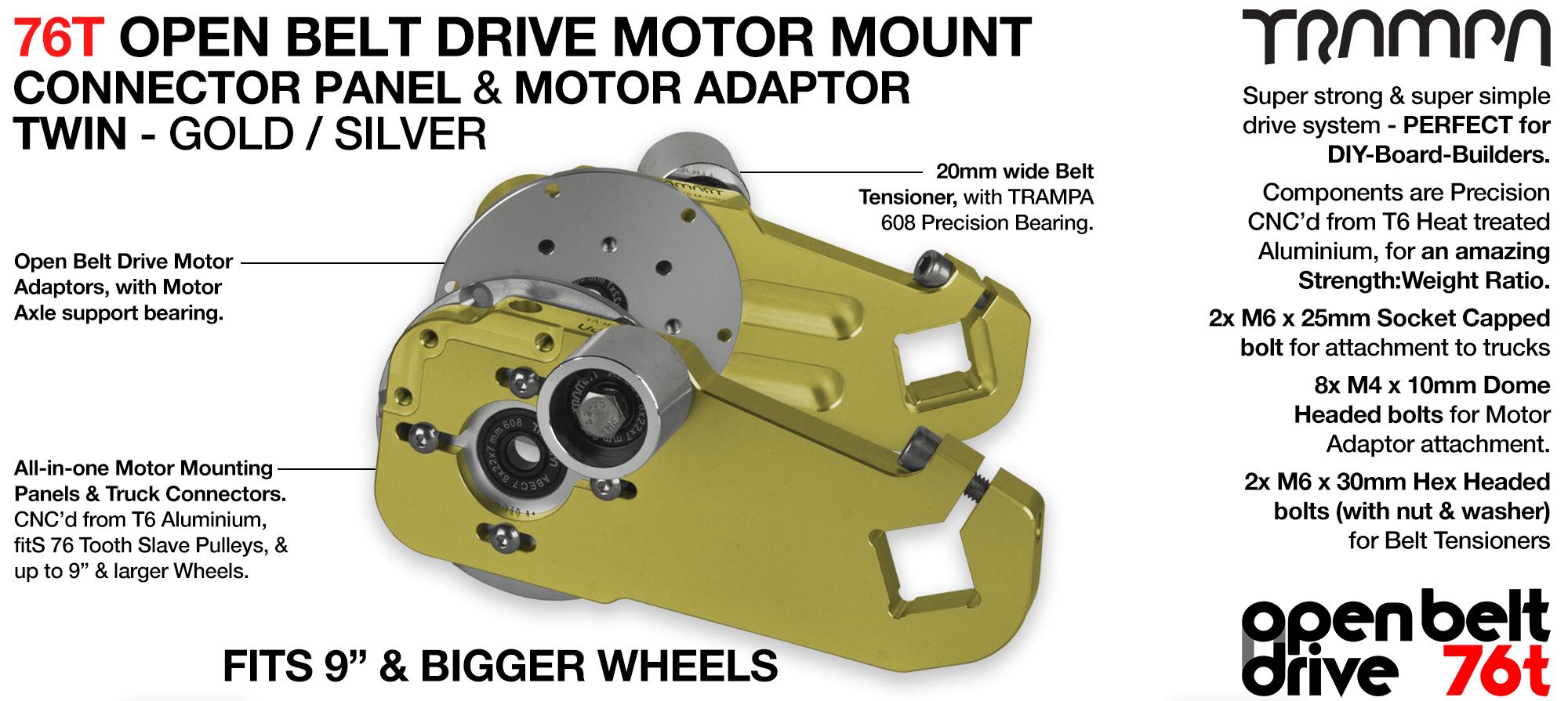 76T Open Belt Drive Motor Mount & Motor Adaptor - TWIN GOLD