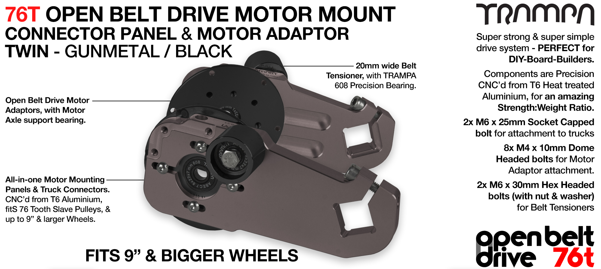 76T Open Belt Drive Motor Mount & Motor Adaptor - TWIN GUNMETAL