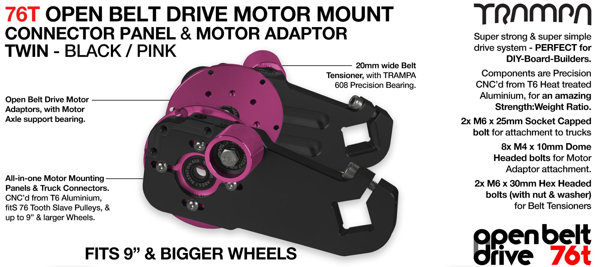 76T Open Belt Drive Motor Mount & Motor Adaptor - TWIN PINK