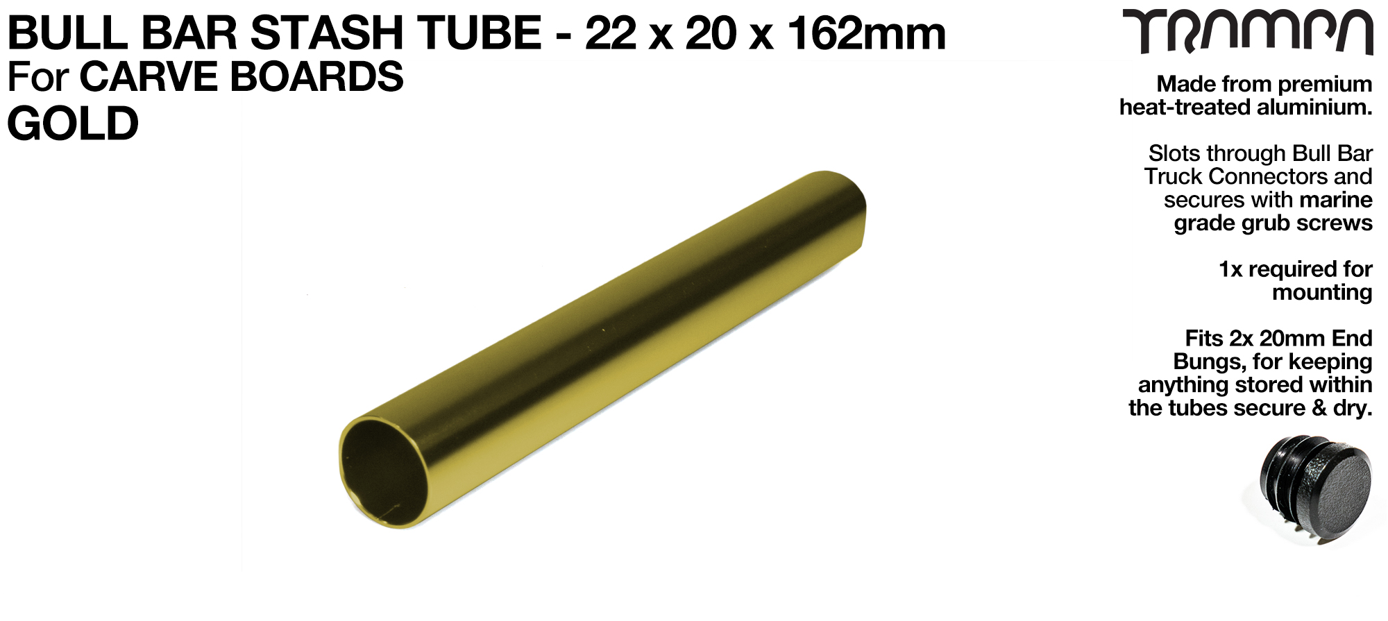 Carve Board Bull Bar Hollow Aluminium Stash Tube - GOLD 22 x 20 x 162 mm