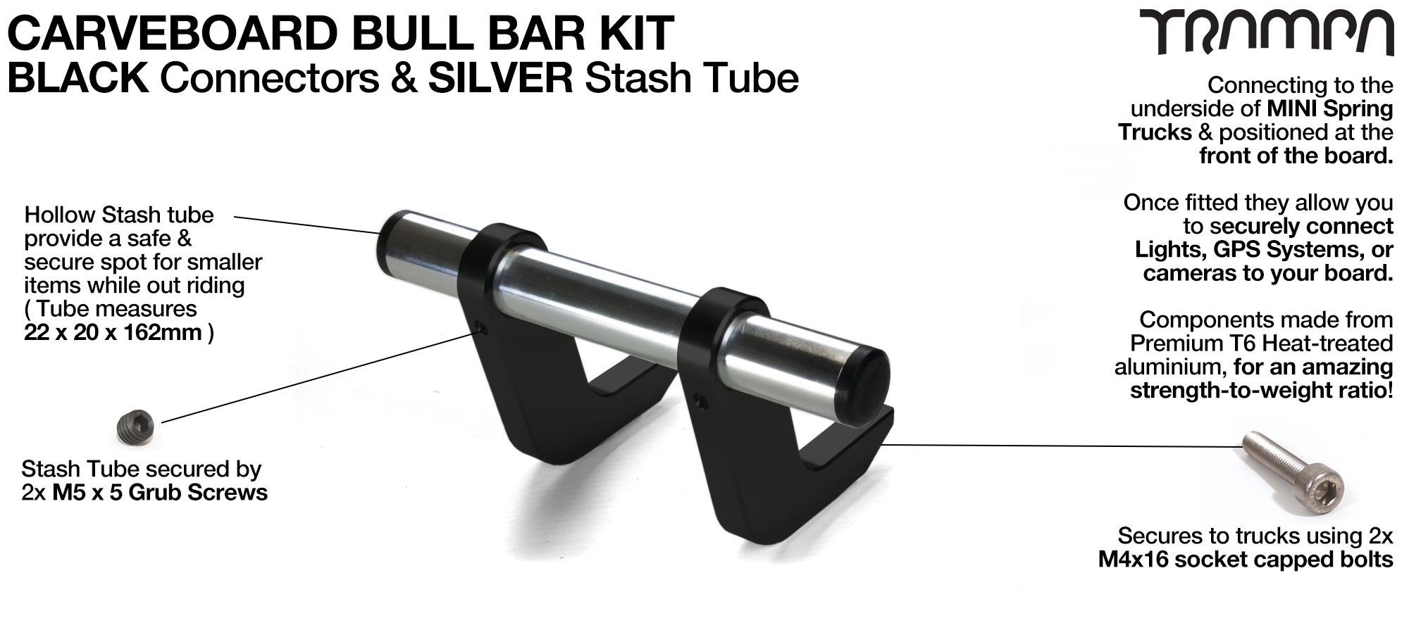 BLACK Uprights & SILVER Crossbar BULL BARS for CARVE BOARDS using T6 Heat Treated CNC'd Aluminum Clamps, Hollow Aluminium Stash Tubes with Rubber end bungs