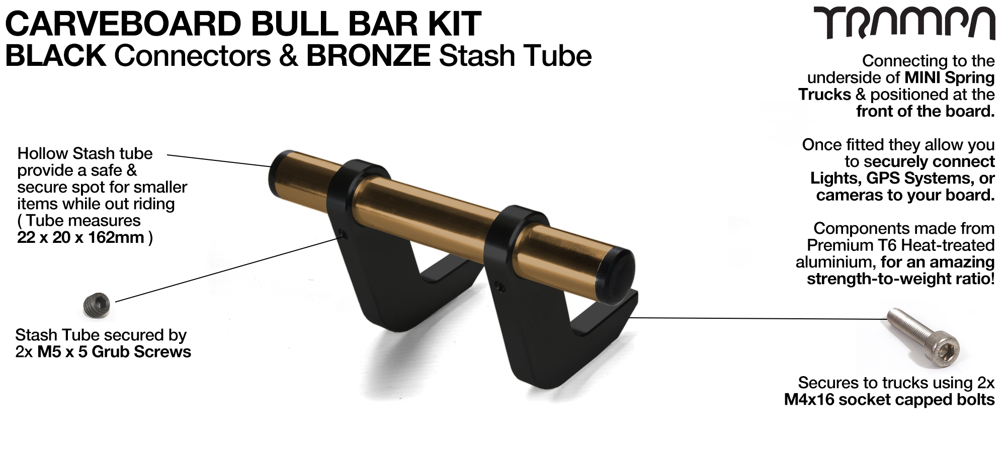 BLACK Uprights & BRONZE Crossbar BULL BARS for CARVE BOARDS using T6 Heat Treated CNC'd AluminIum Clamps, Hollow Aluminium Stash Tubes with Rubber end bungs