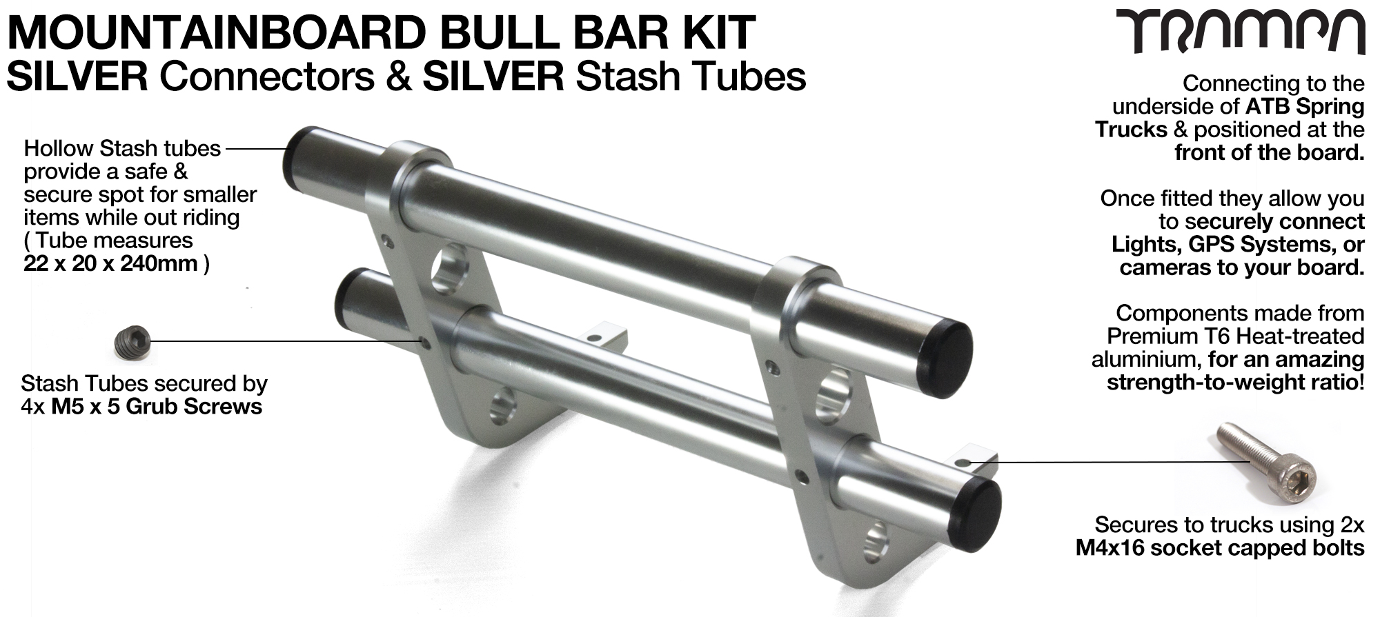 BLACK Uprights & SILVER Crossbar BULL BARS for MOUNTAINBOARDS using T6 Heat Treated CNC'd Aluminum Clamps, Hollow Aluminium Stash Tubes with Rubber end bungs