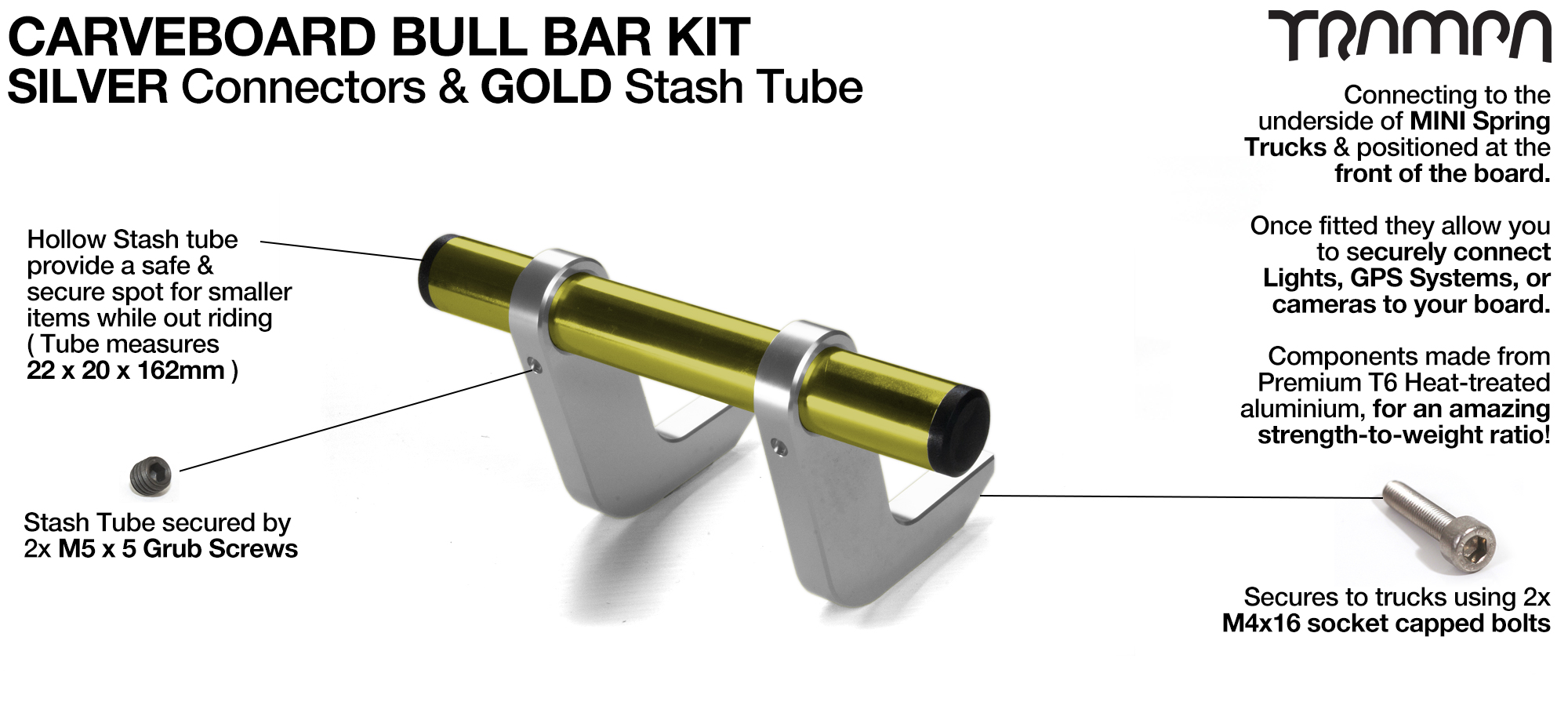 SILVER Uprights & GOLD Crossbar BULL BARS for CARVE BOARDS using T6 Heat Treated CNC'd Aluminum Clamps, Hollow Aluminium Stash Tubes with Rubber end bungs