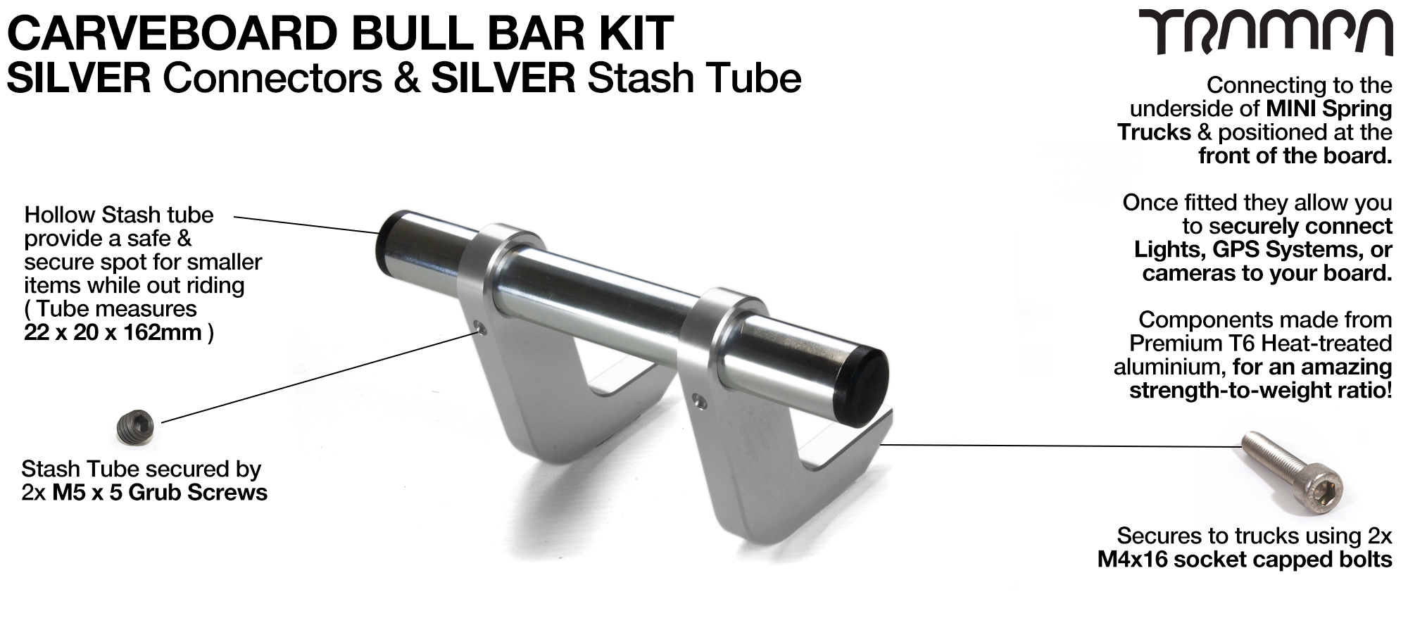 SILVER Uprights & SILVER Crossbar BULL BARS for CARVE BOARDS using T6 Heat Treated CNC'd Aluminum Clamps, Hollow Aluminium Stash Tubes with Rubber end bungs