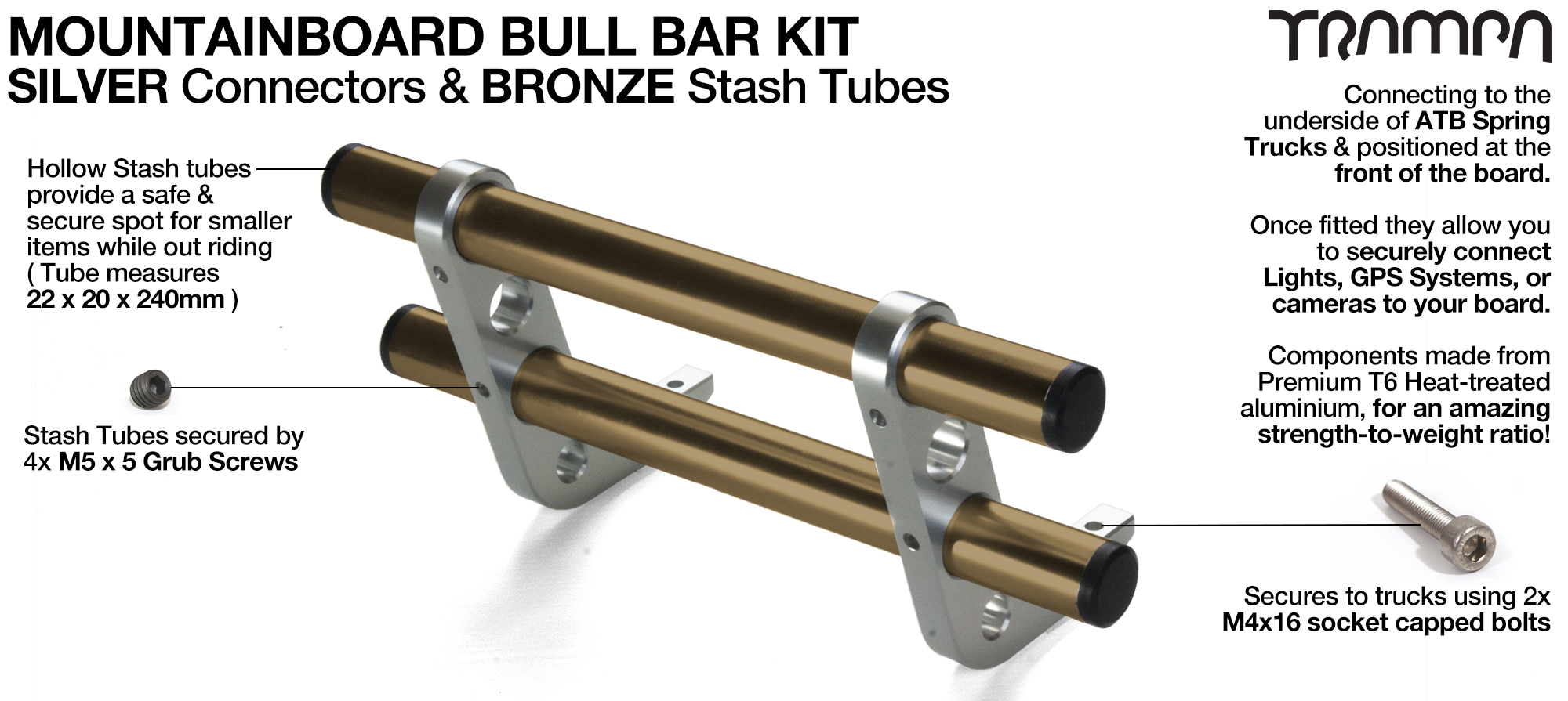 SILVER Uprights & BRONZE Crossbar BULL BARS for MOUNTAINBOARDS T6 Heat Treated CNC'd Aluminium Uprights, with Hollow Aluminium Stash Tubes with Rubber end bungs