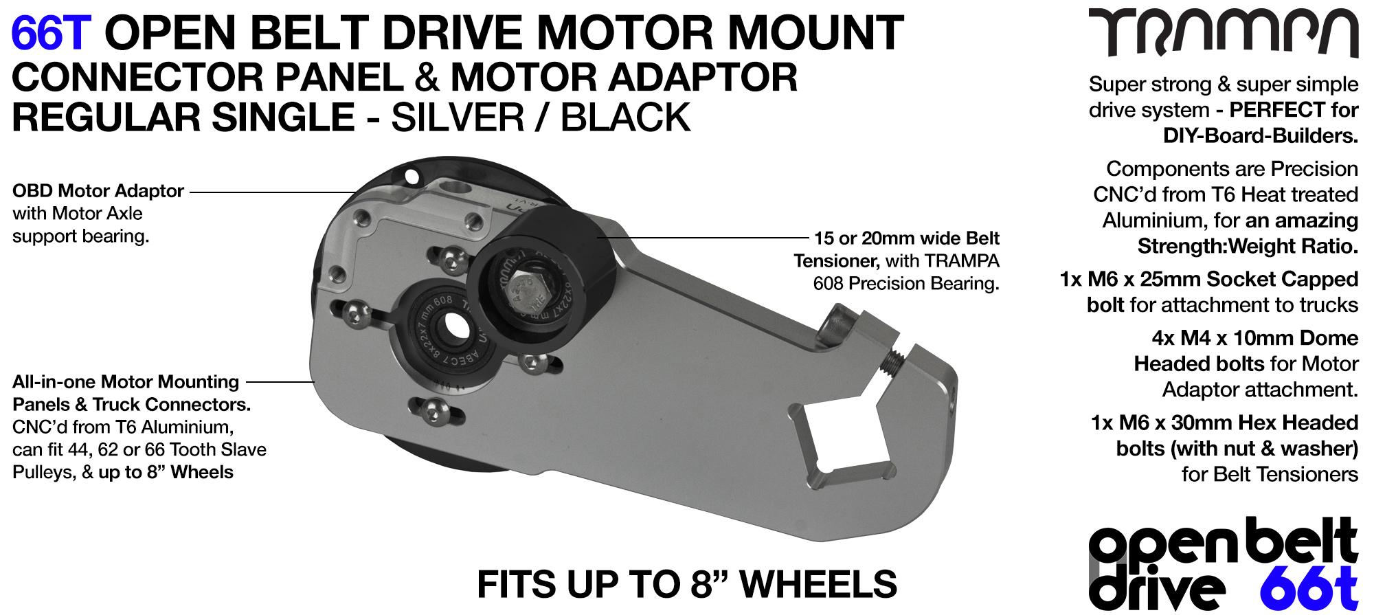 66T OPEN BELT DRIVE Motor Mount & Motor Adaptor - SINGLE SILVER
