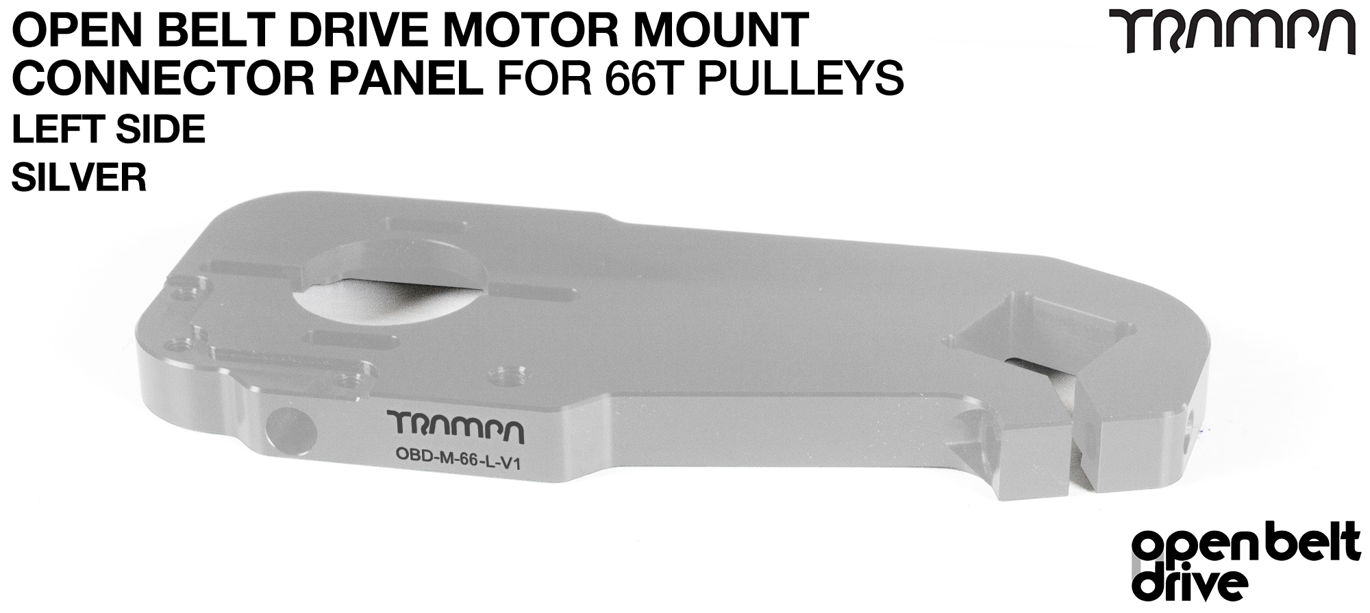 OBD Motor Mount Connector Panel for 66 tooth Pulleys - REGULAR - SILVER