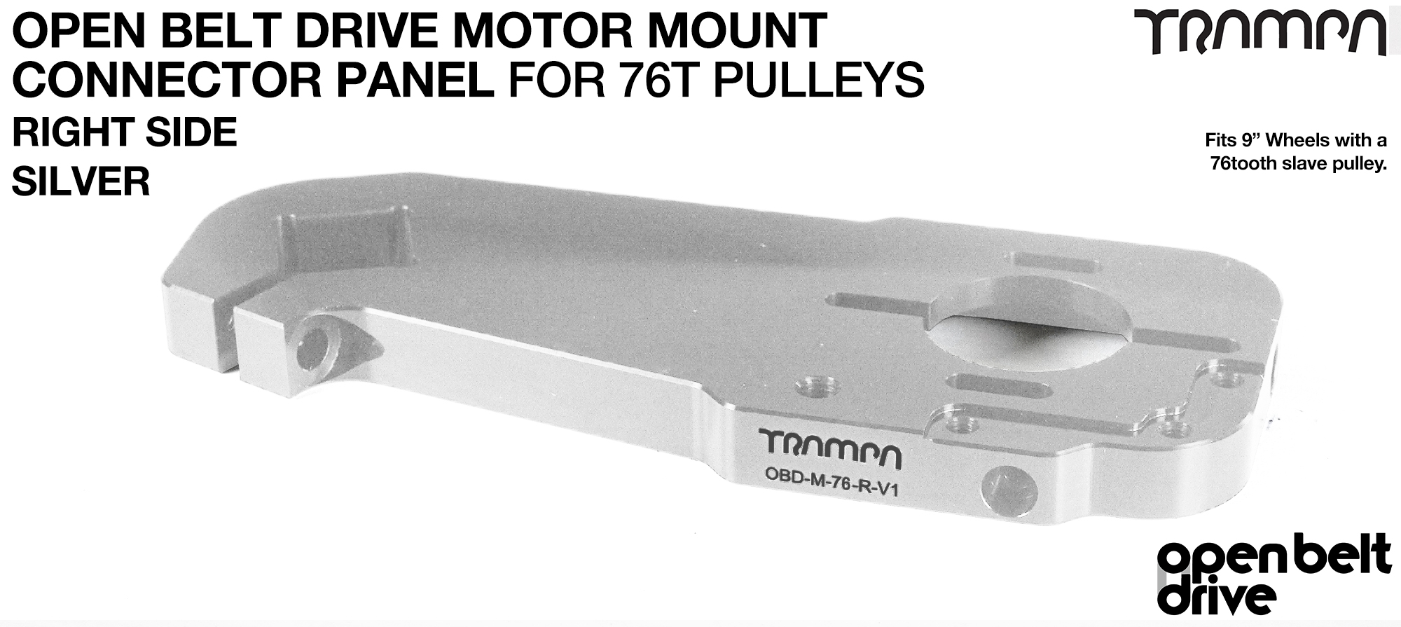 OBD Motor Mount Connector Panel for 76 tooth Pulleys - GOOFY - SILVER