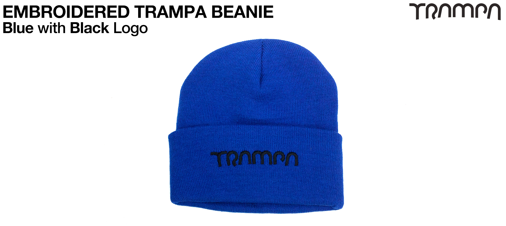 BLUE Wooli Hat with BLACK TRAMPA Embroidery - Double thick turn over for extra warmth
