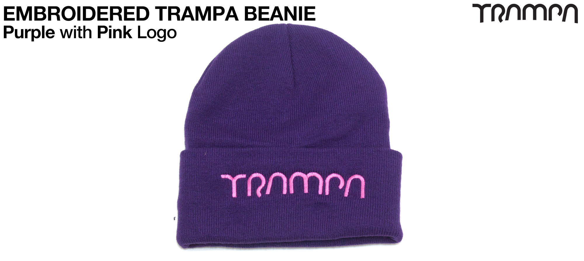 PURPLE Woolie hat with PINK TRAMPA logo