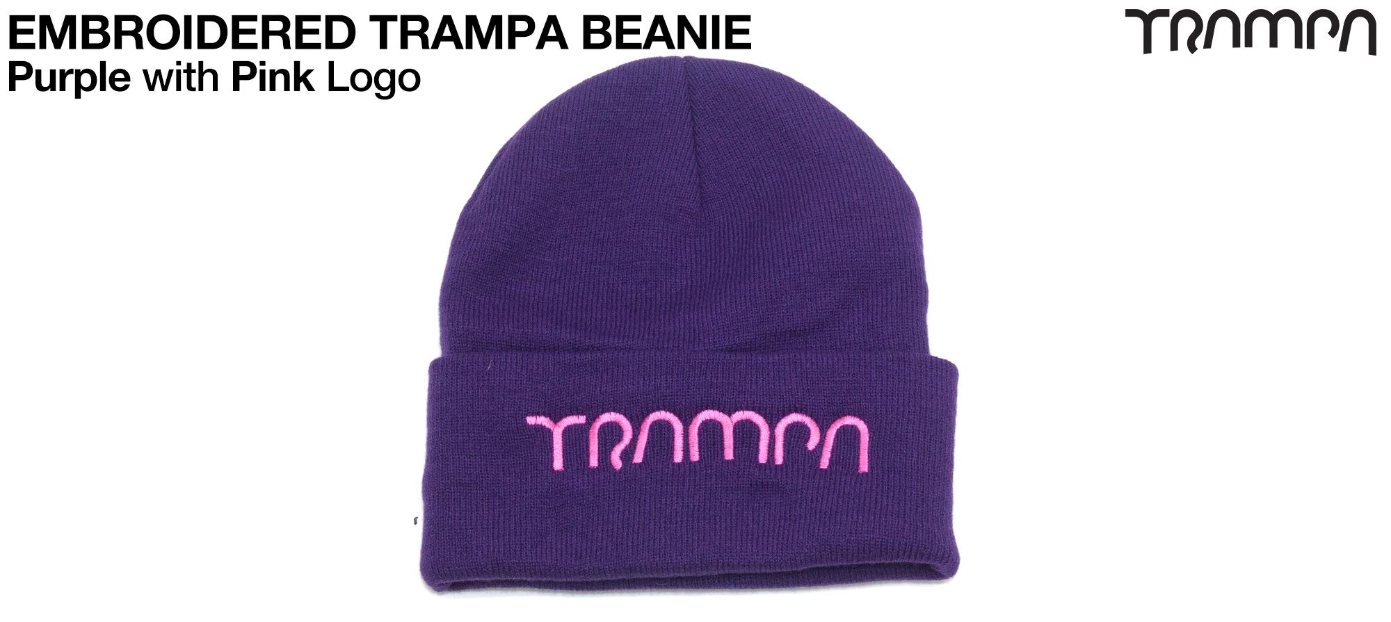 PURPLE Woolie hat with PINK TRAMPA logo
