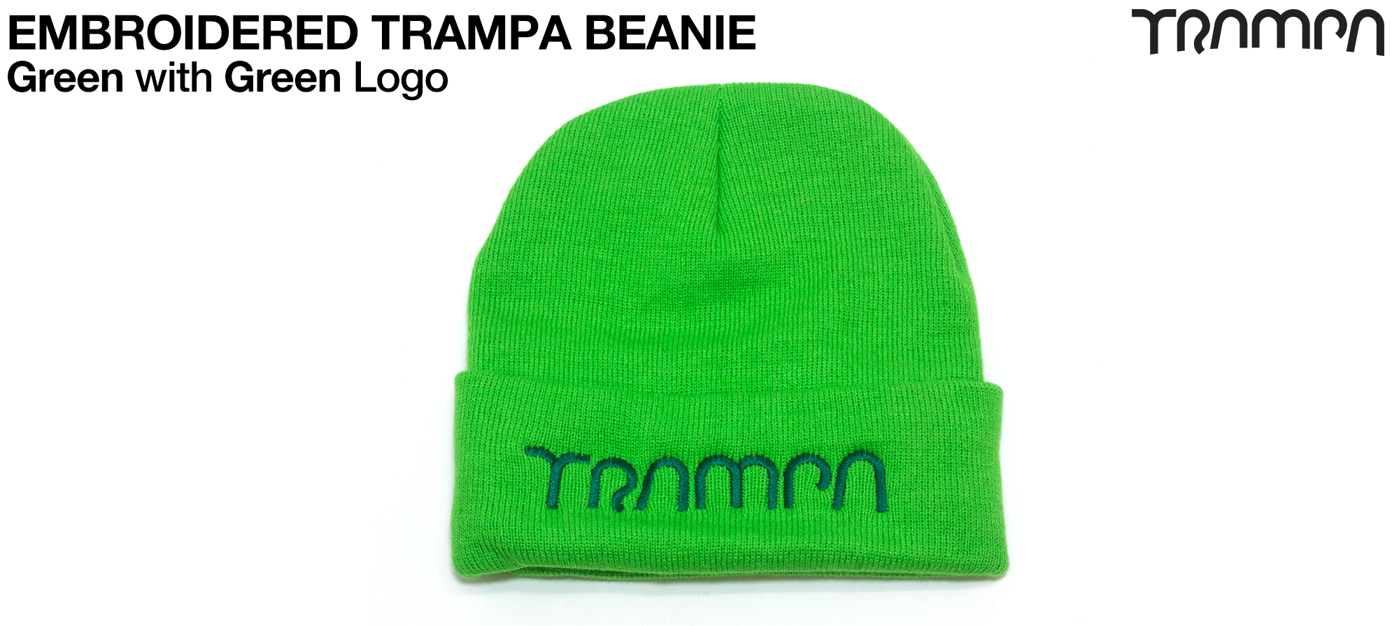 GREEN Woolie hat with GREEN TRAMPA logo