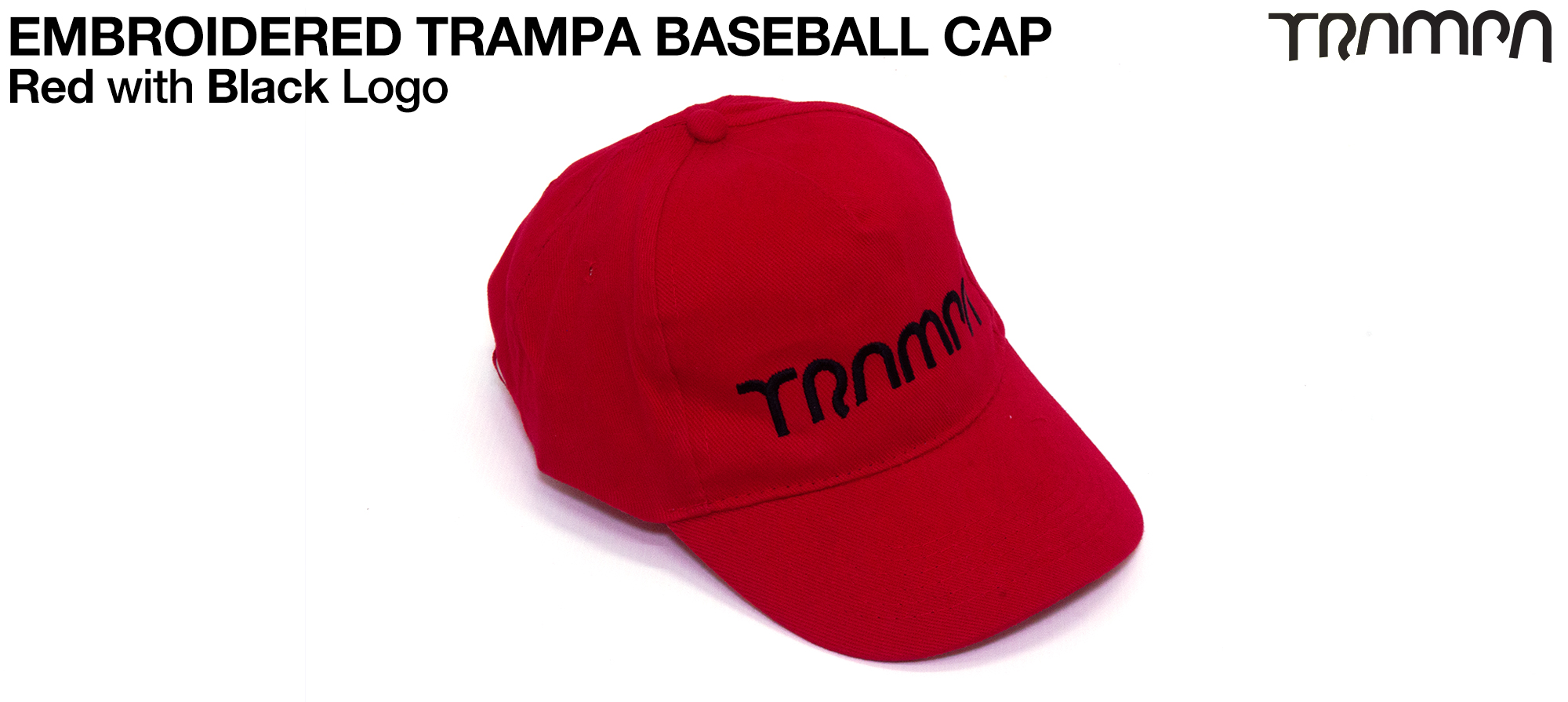 RED Baseball Cap with BLACK logo embroidered