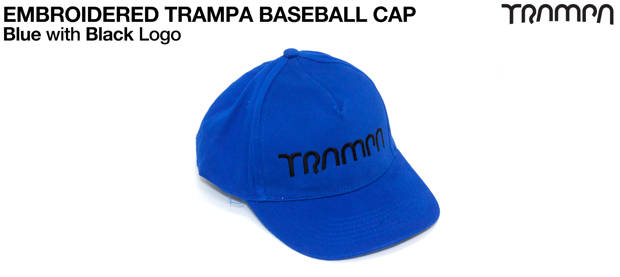 BLUE Baseball Cap with BLACK logo embroidered