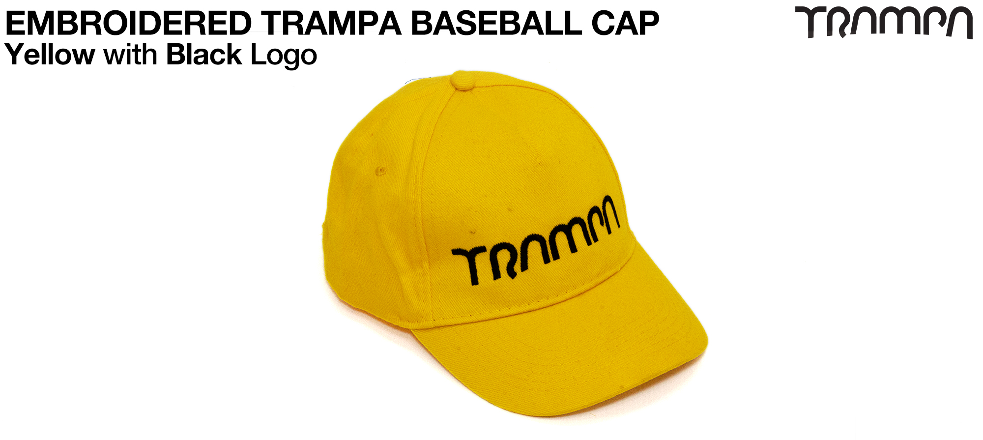 YELLOW Baseball Cap with BLACK logo embroidered